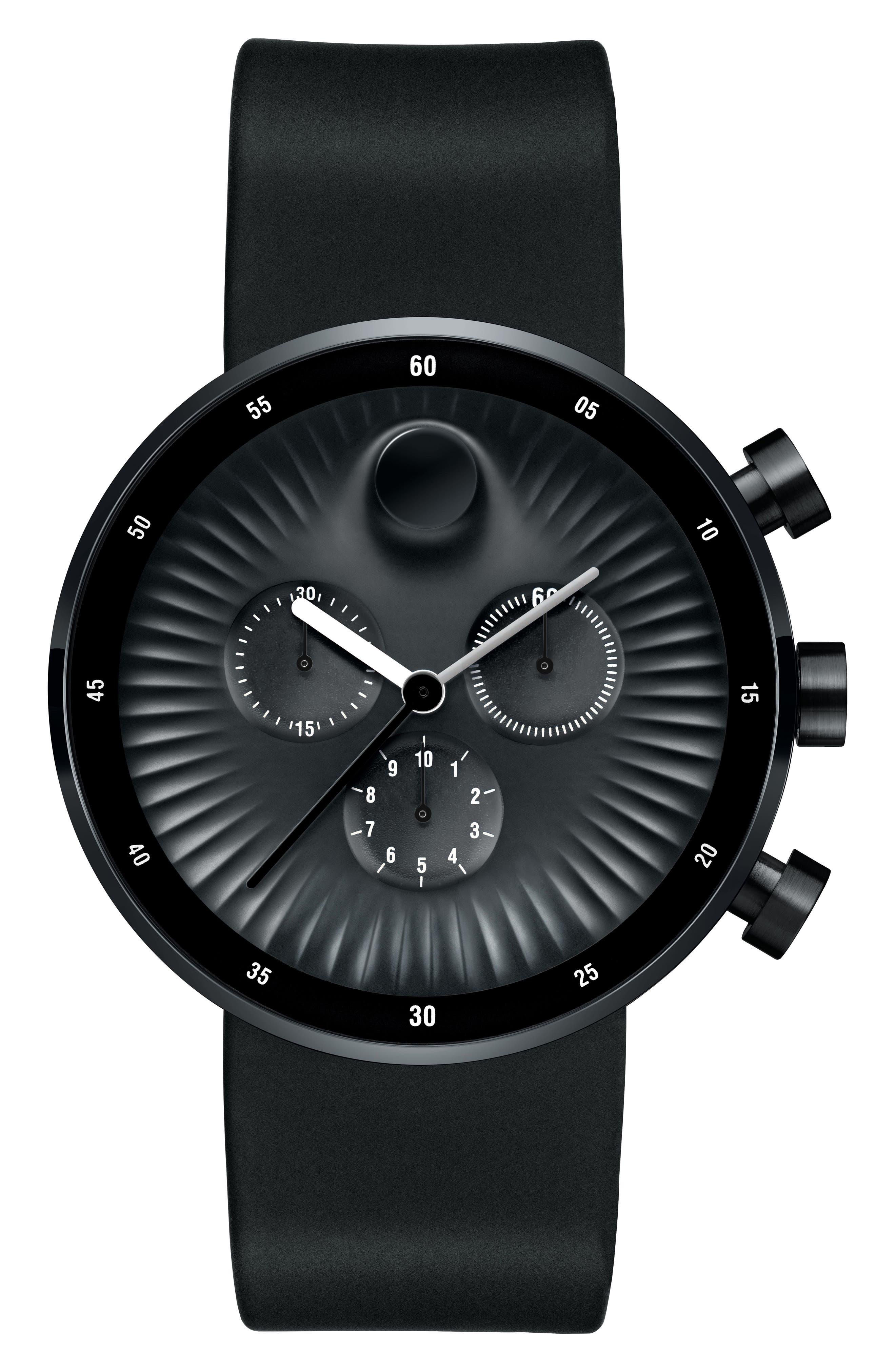 Edge Chronograph Rubber Strap Watch, 42mm,                         Main,                         color, Black