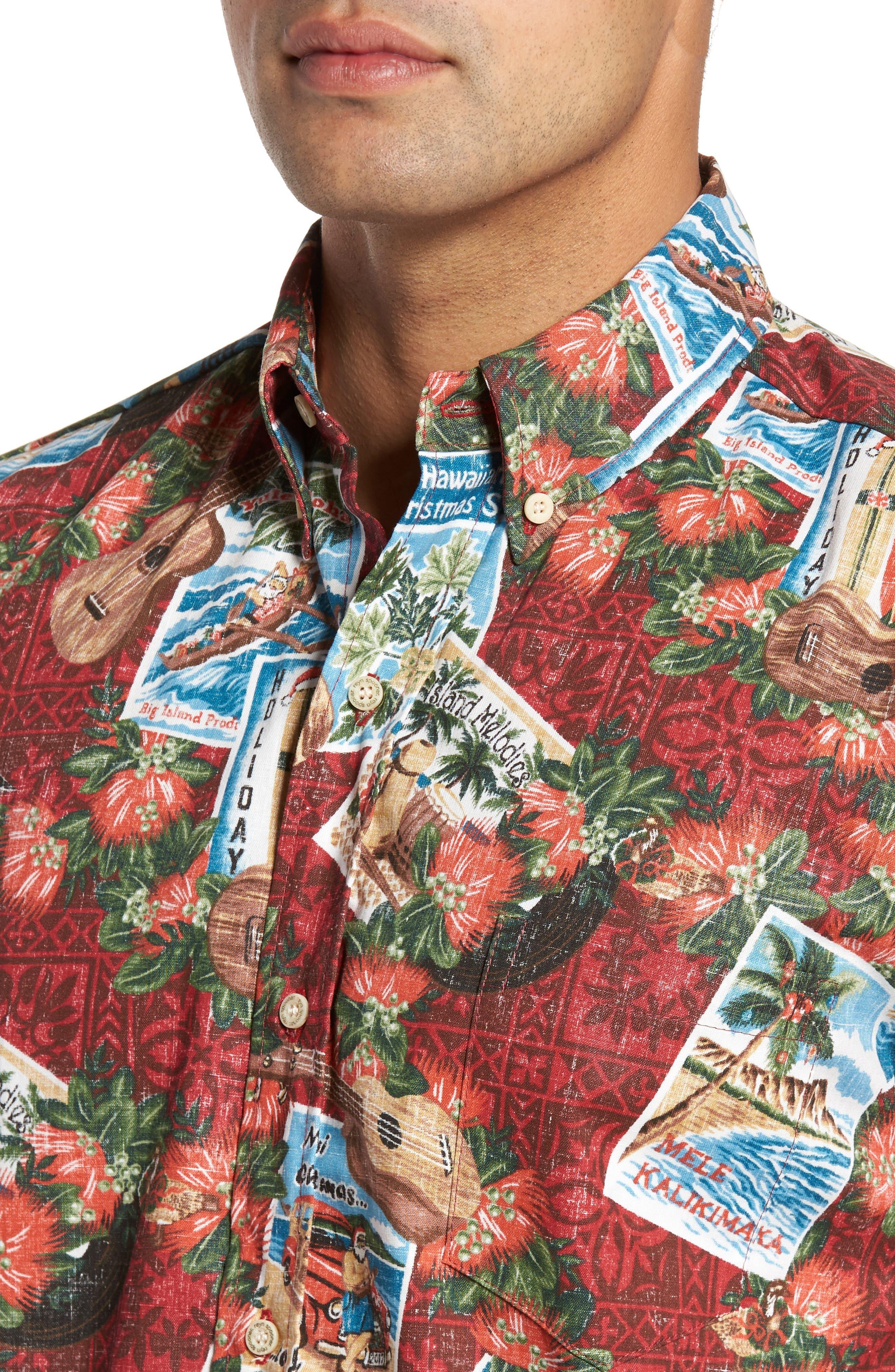 Alternate Image 4  - Reyn Spooner Hawaiian Christmas 2017 Sport Shirt