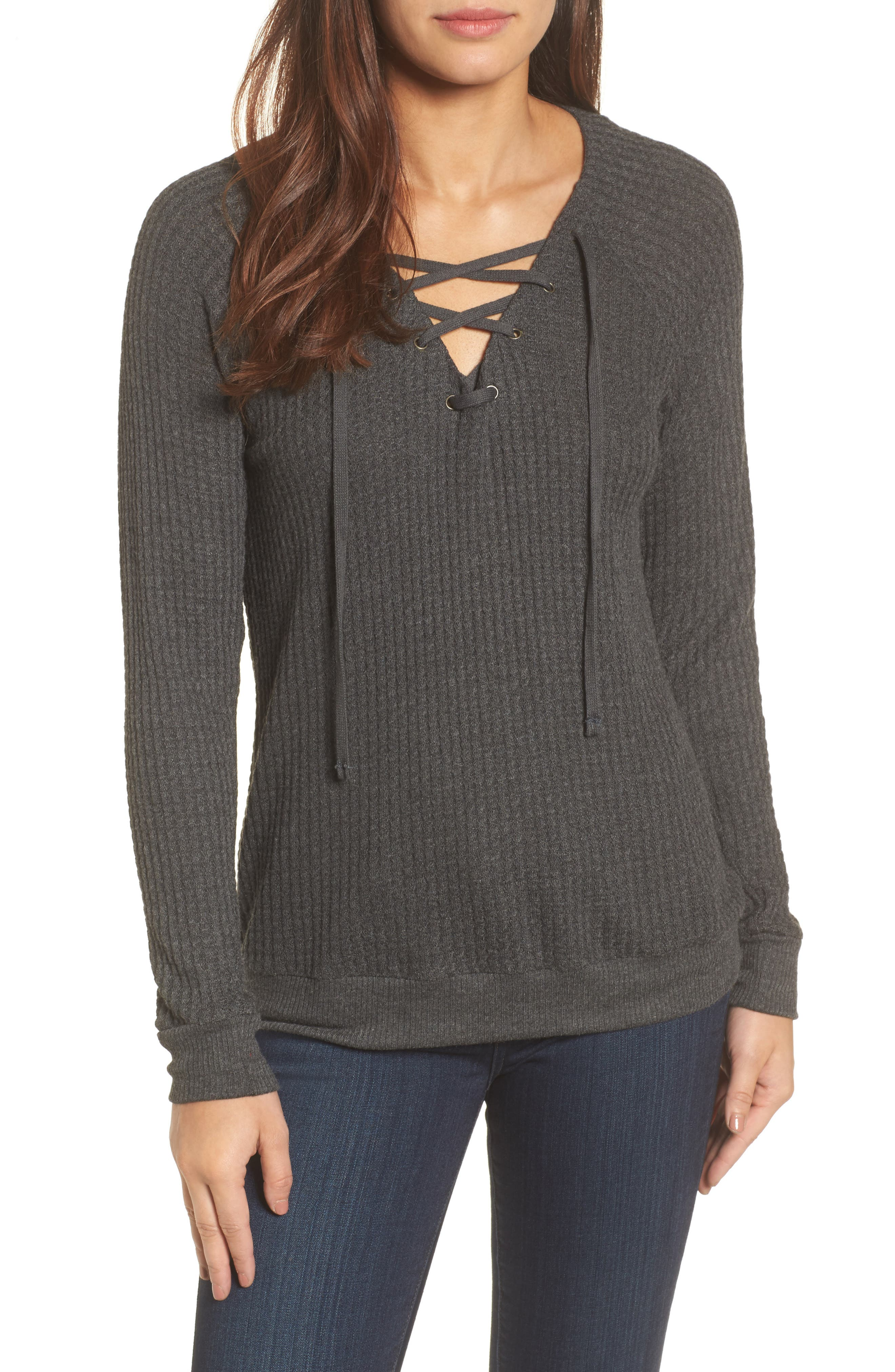Thermal Knit Lace-Up Top,                             Main thumbnail 1, color,                             Anthracite