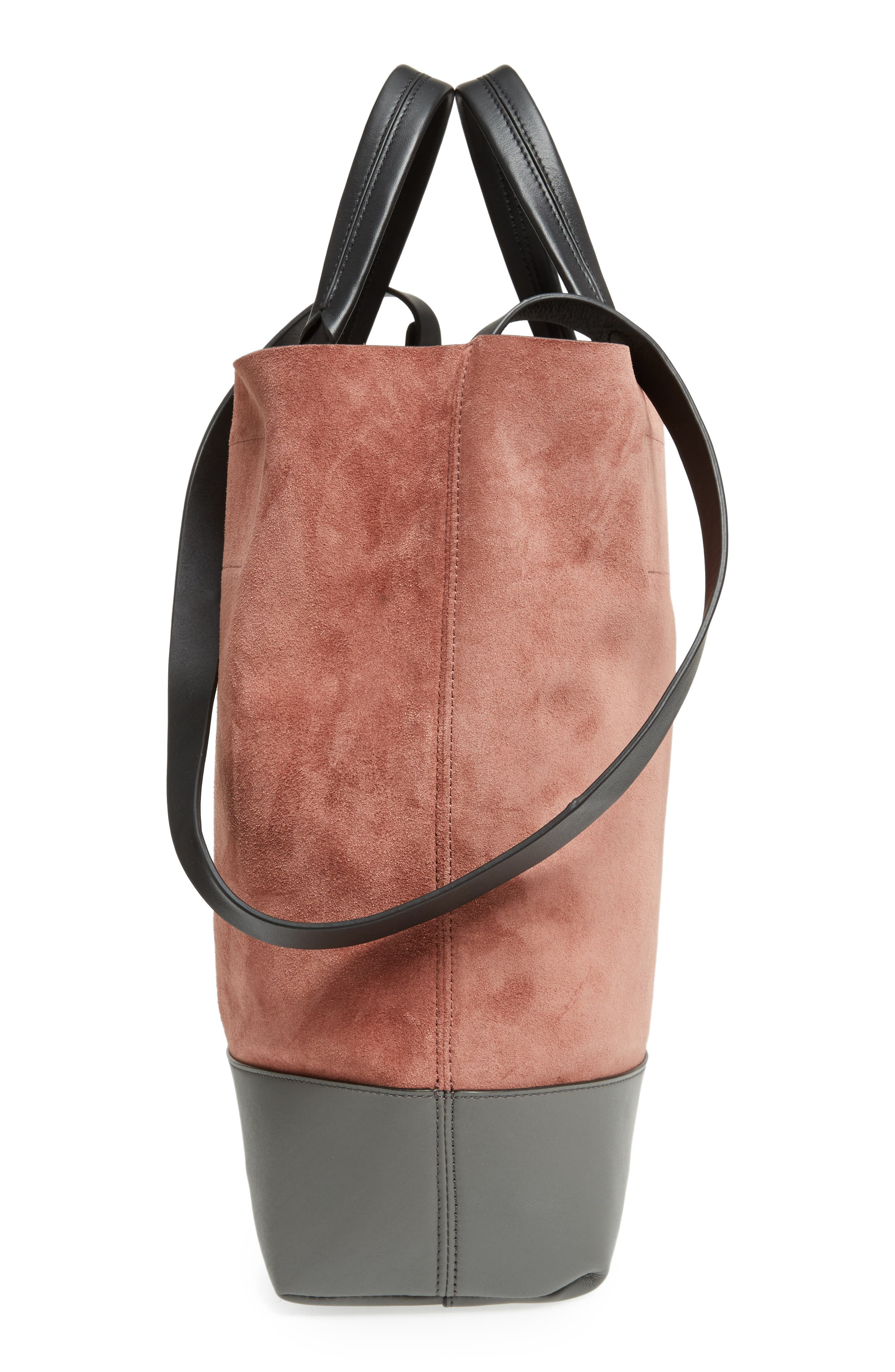 Walker Convertible Suede & Leather Tote,                             Alternate thumbnail 4, color,                             Mauve Suede