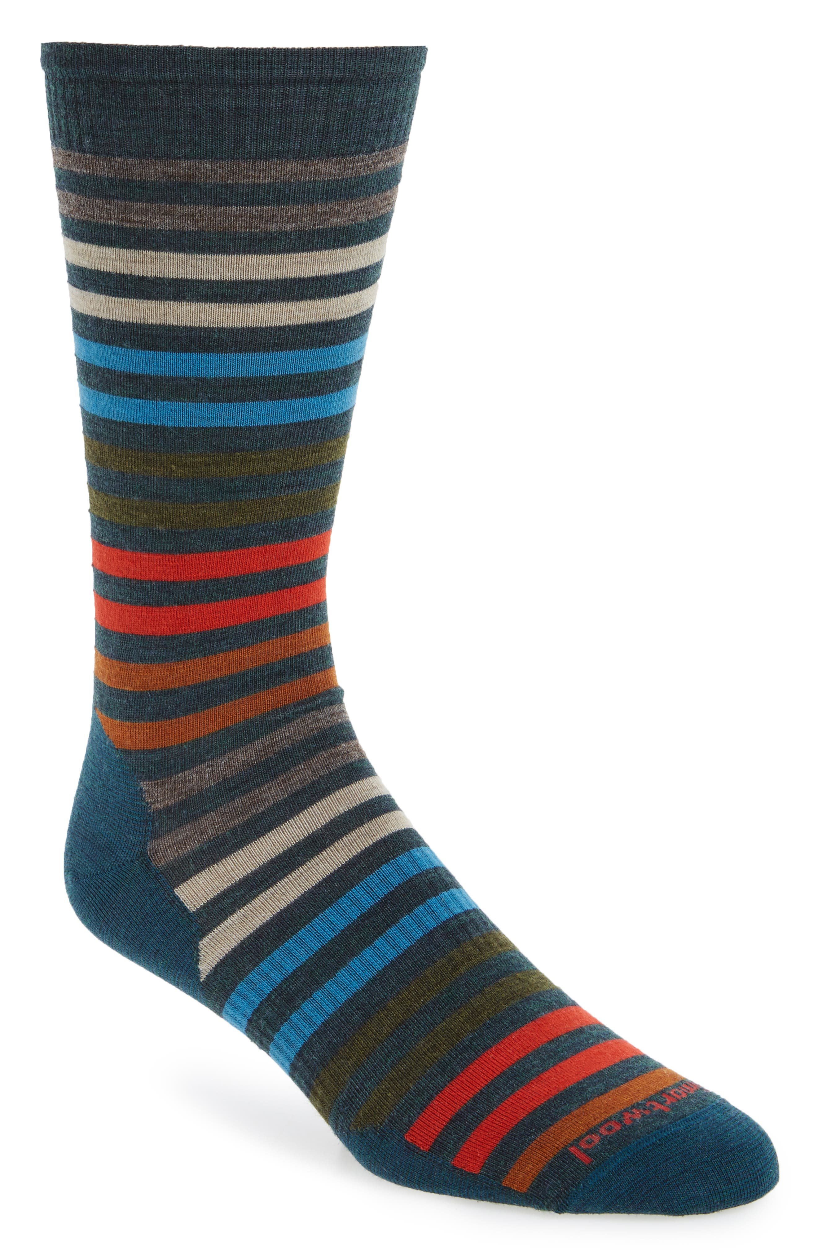'Spruce Street' Stripe Merino Wool Blend Socks,                         Main,                         color, Lochness Heather