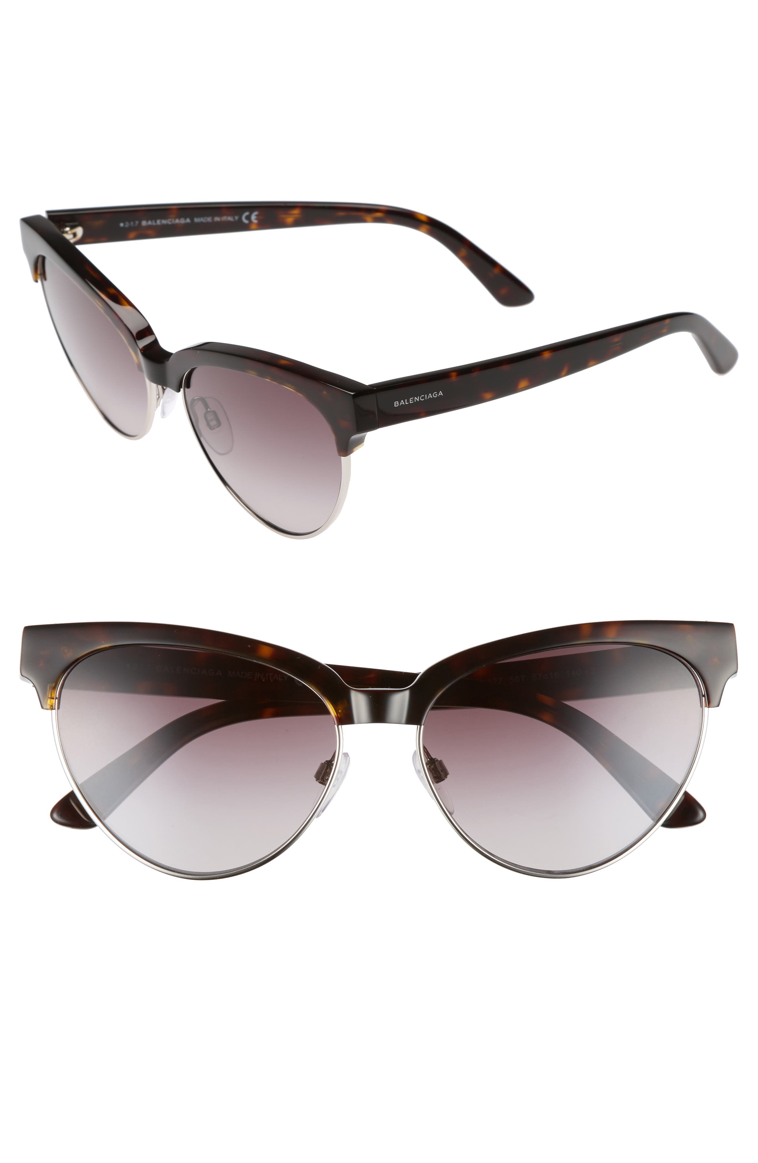 Balenciaga 57mm Gradient Cat Eye Sunglasses