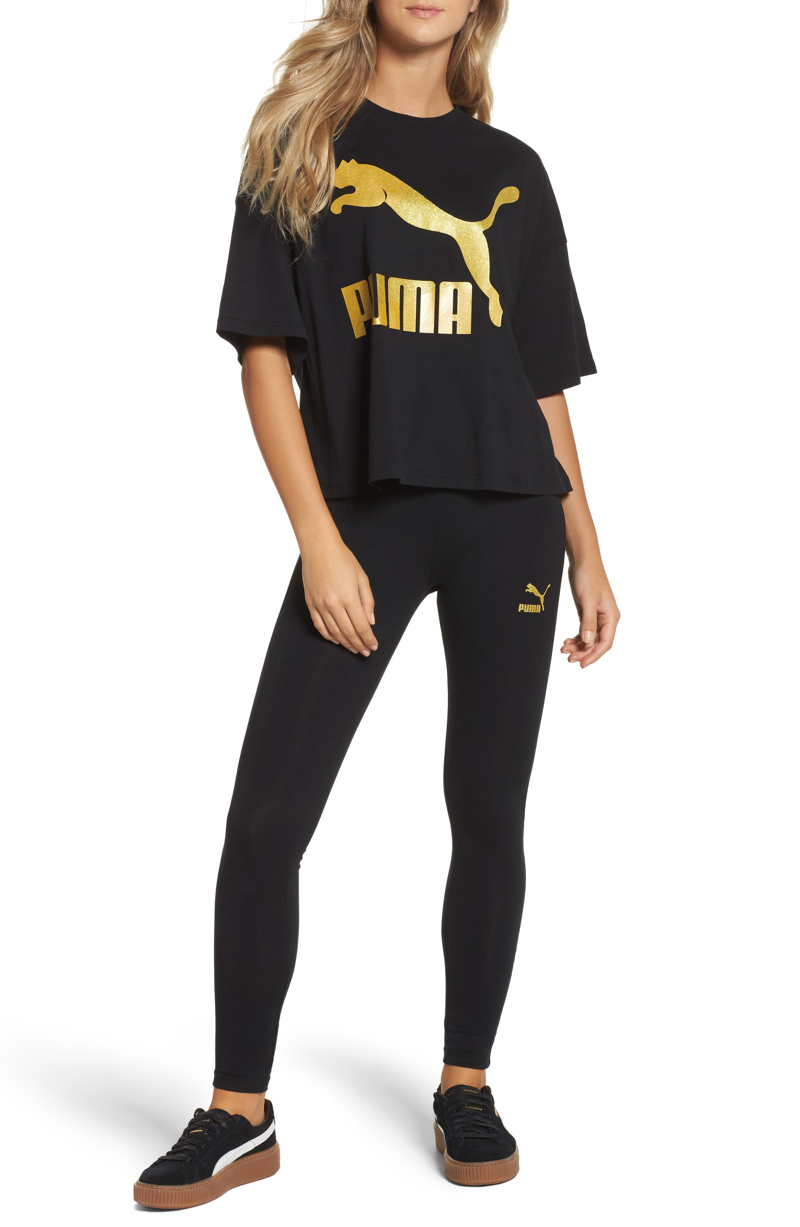 Glam Oversize Tee,                             Alternate thumbnail 8, color,                             Puma Black-Gold Glitter