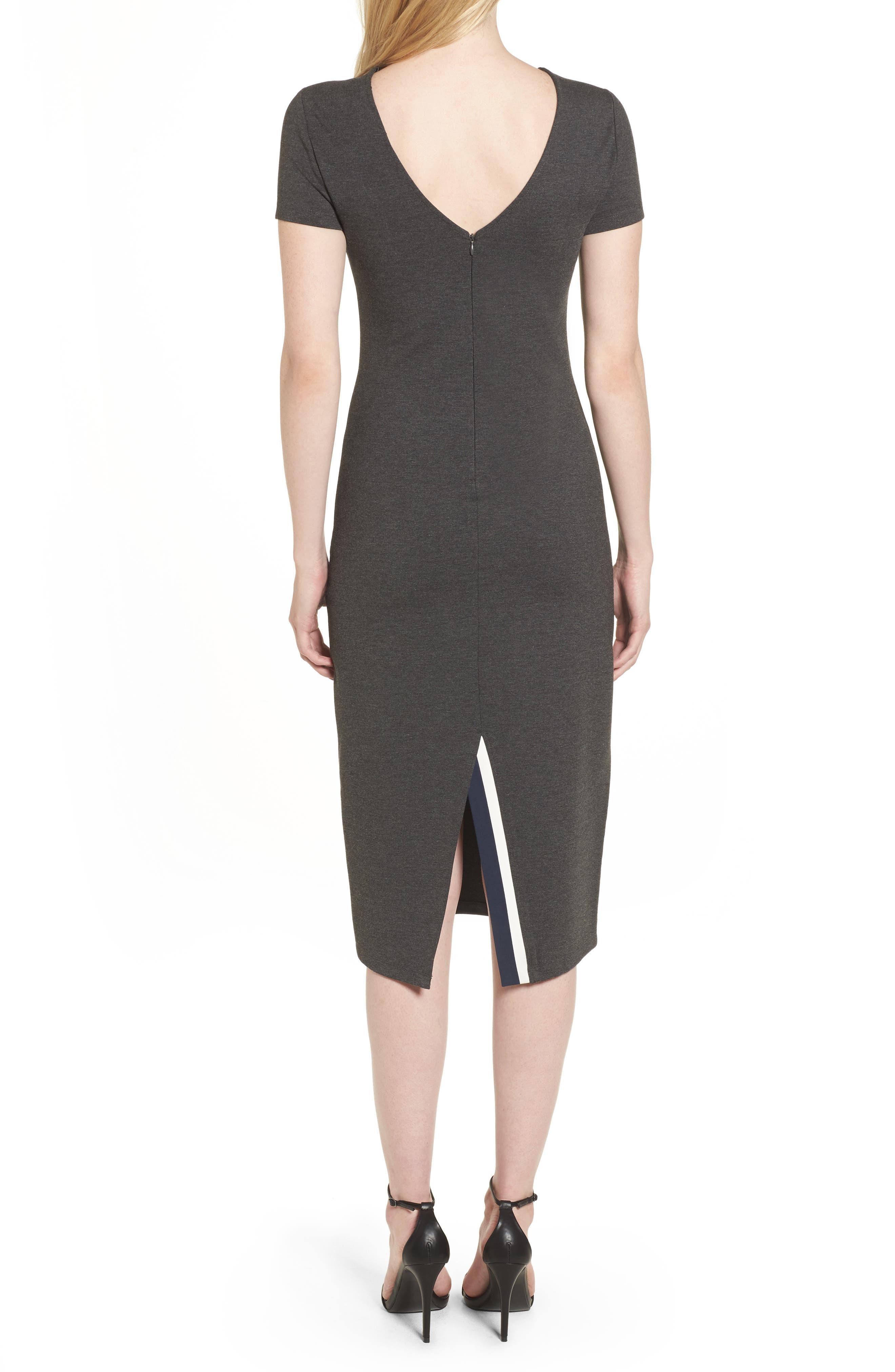 Ponte Sheath Dress,                             Alternate thumbnail 2, color,                             Charcoal