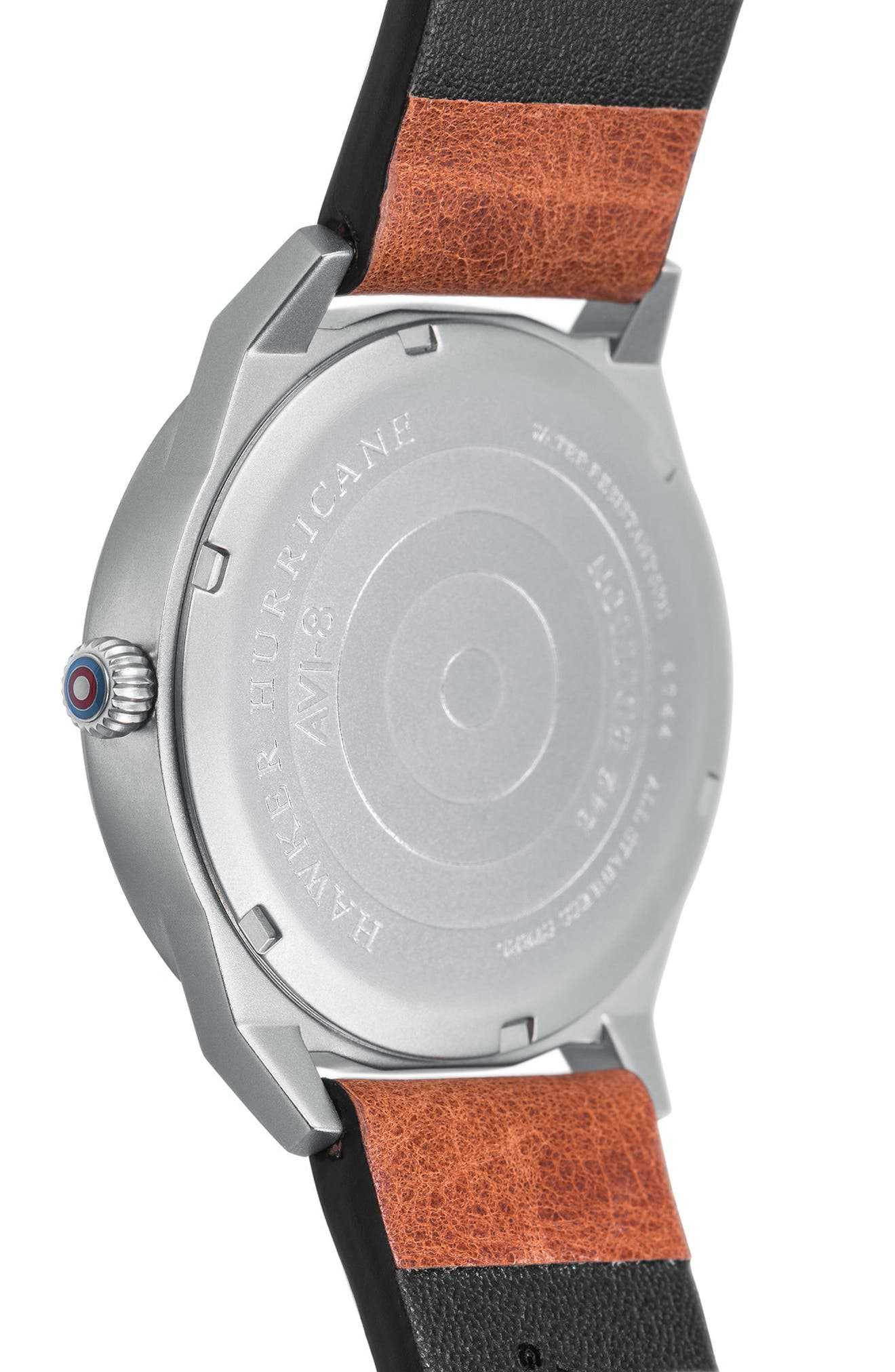 Alternate Image 3  - AVI-8 Hawker Hurricane Leather Strap Watch, 38mm