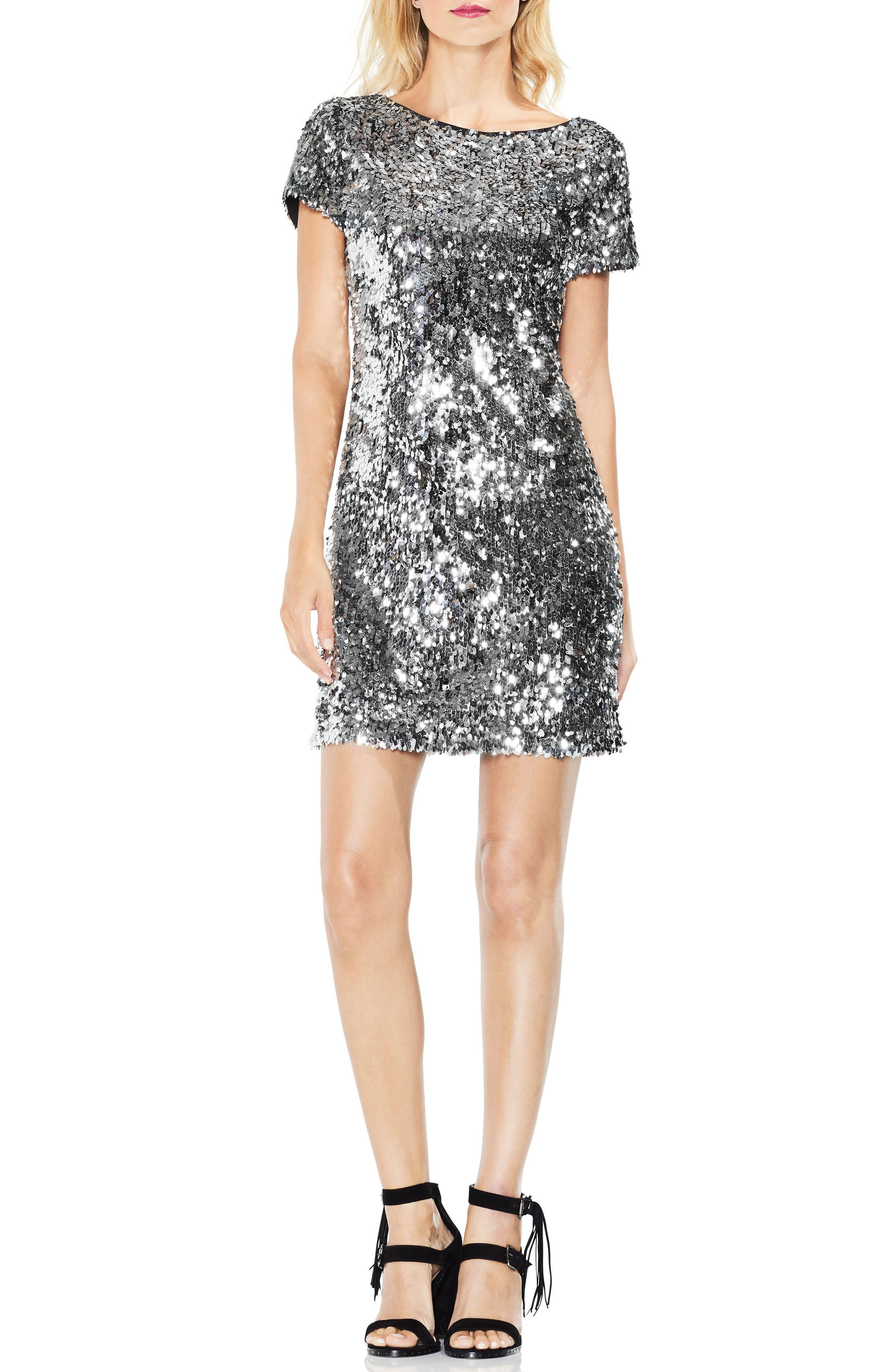 Allover Sequin Dress,                             Alternate thumbnail 3, color,                             Chrome