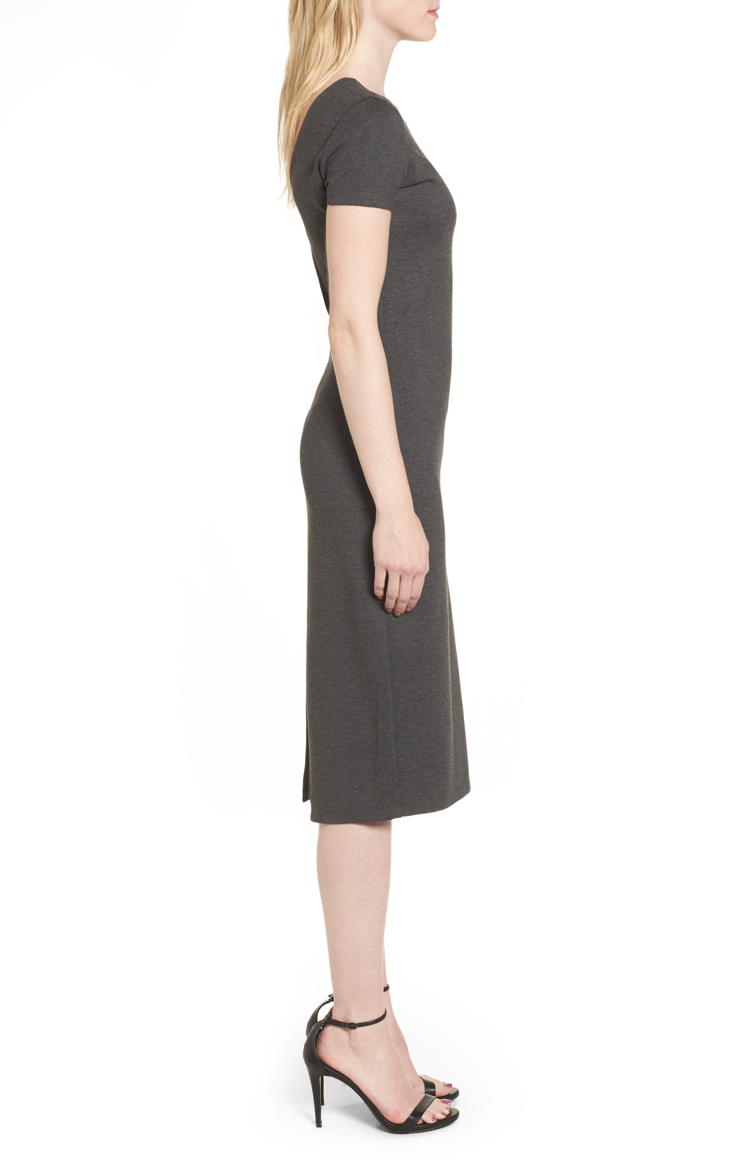 Ponte Sheath Dress,                             Alternate thumbnail 3, color,                             Charcoal