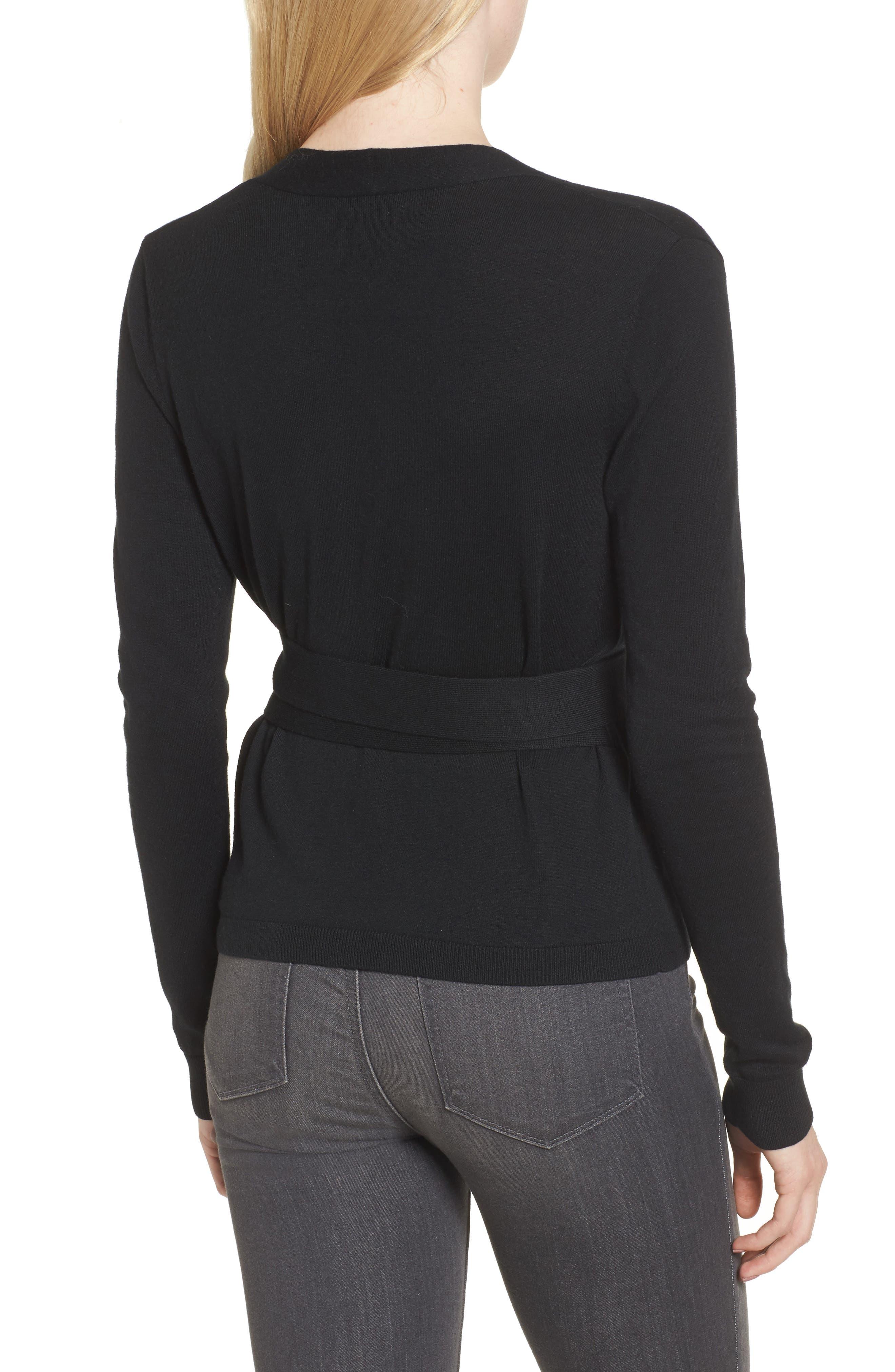 Ballet Wrap Sweater,                             Alternate thumbnail 2, color,                             Black