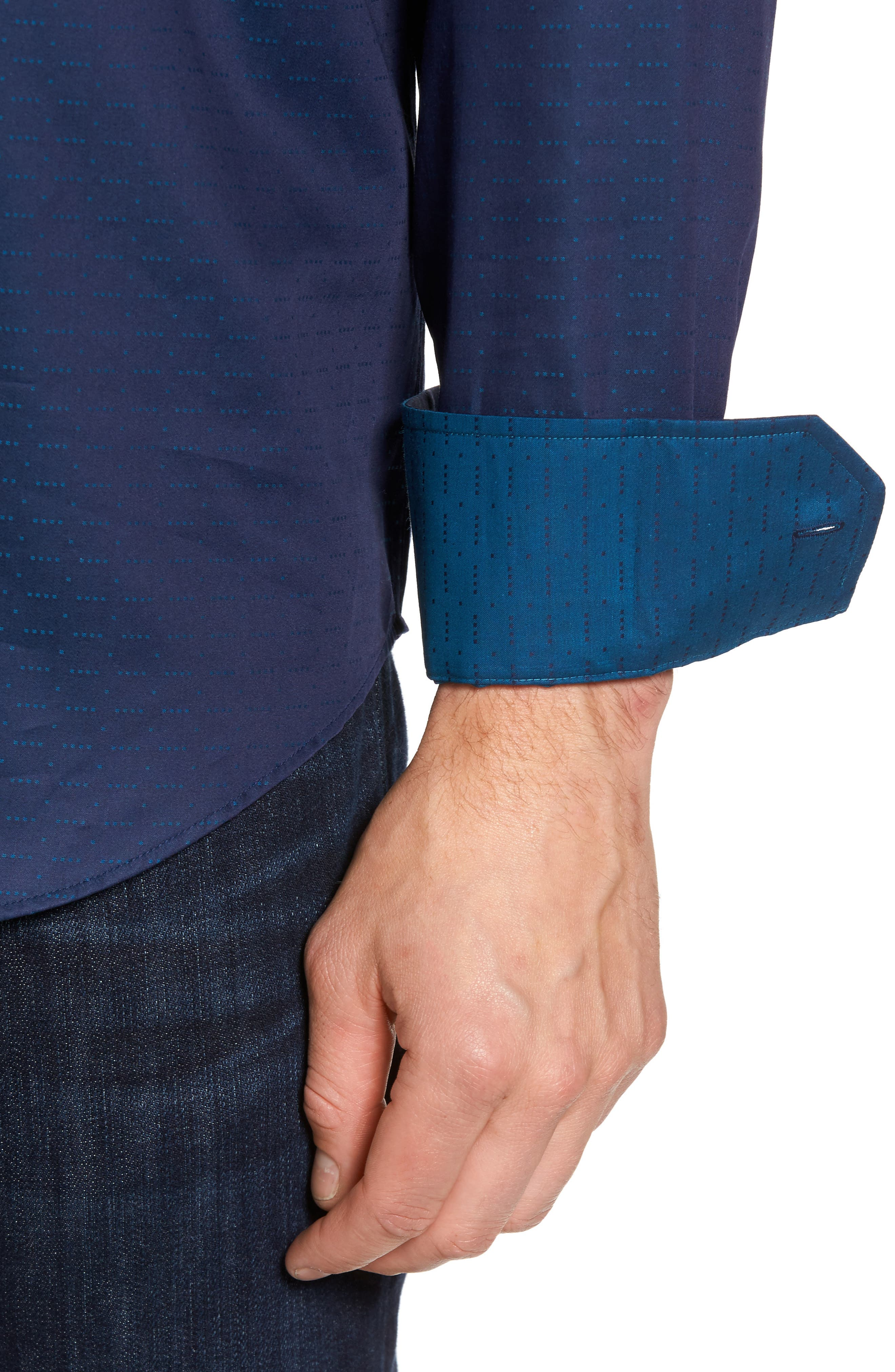 Classic Fit Square Dobby Sport Shirt,                             Alternate thumbnail 4, color,                             Midnight