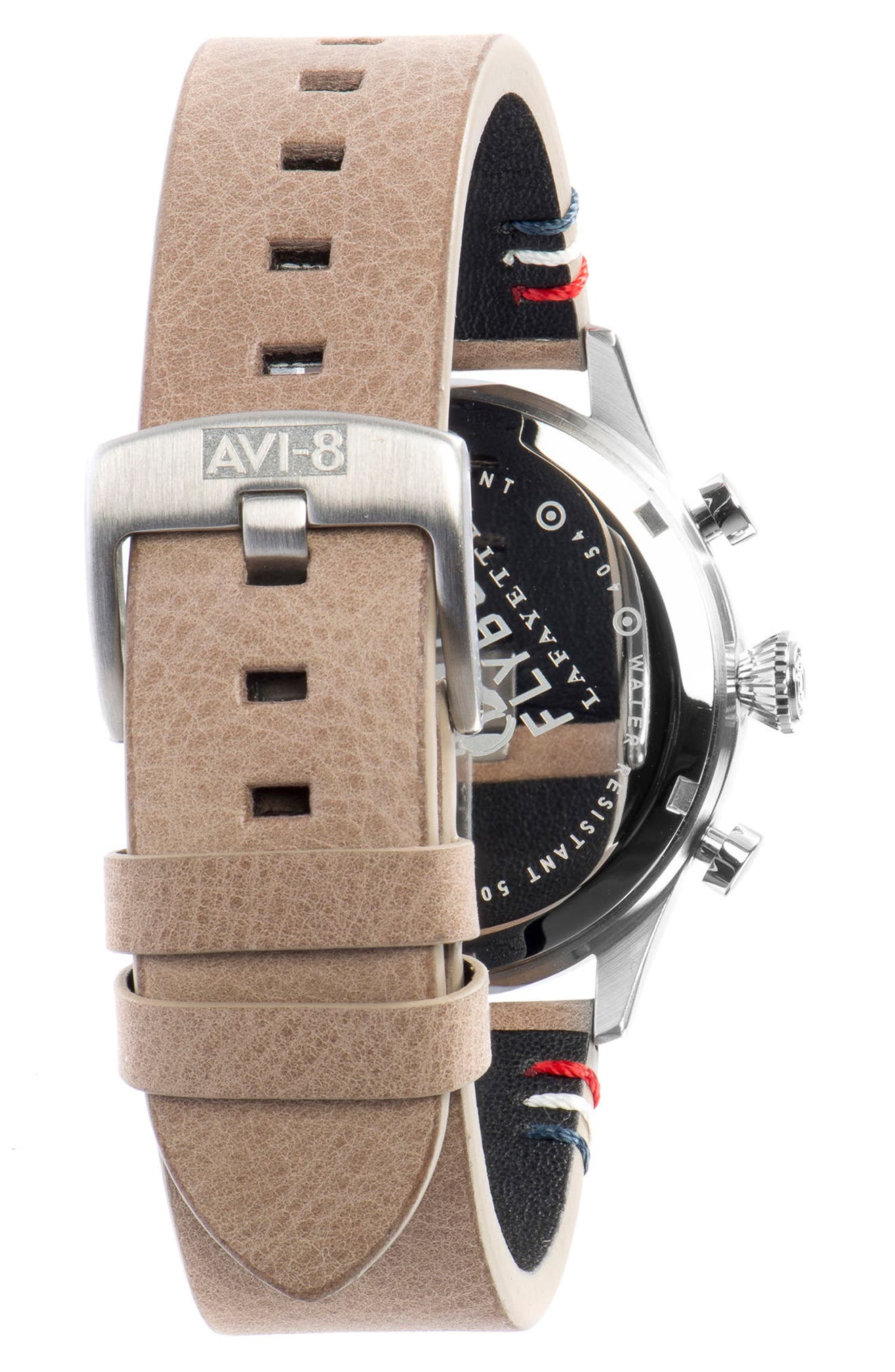 Alternate Image 4  - AVI-8 Flyboy Lafayette Chronograph Leather Strap Watch, 43mm