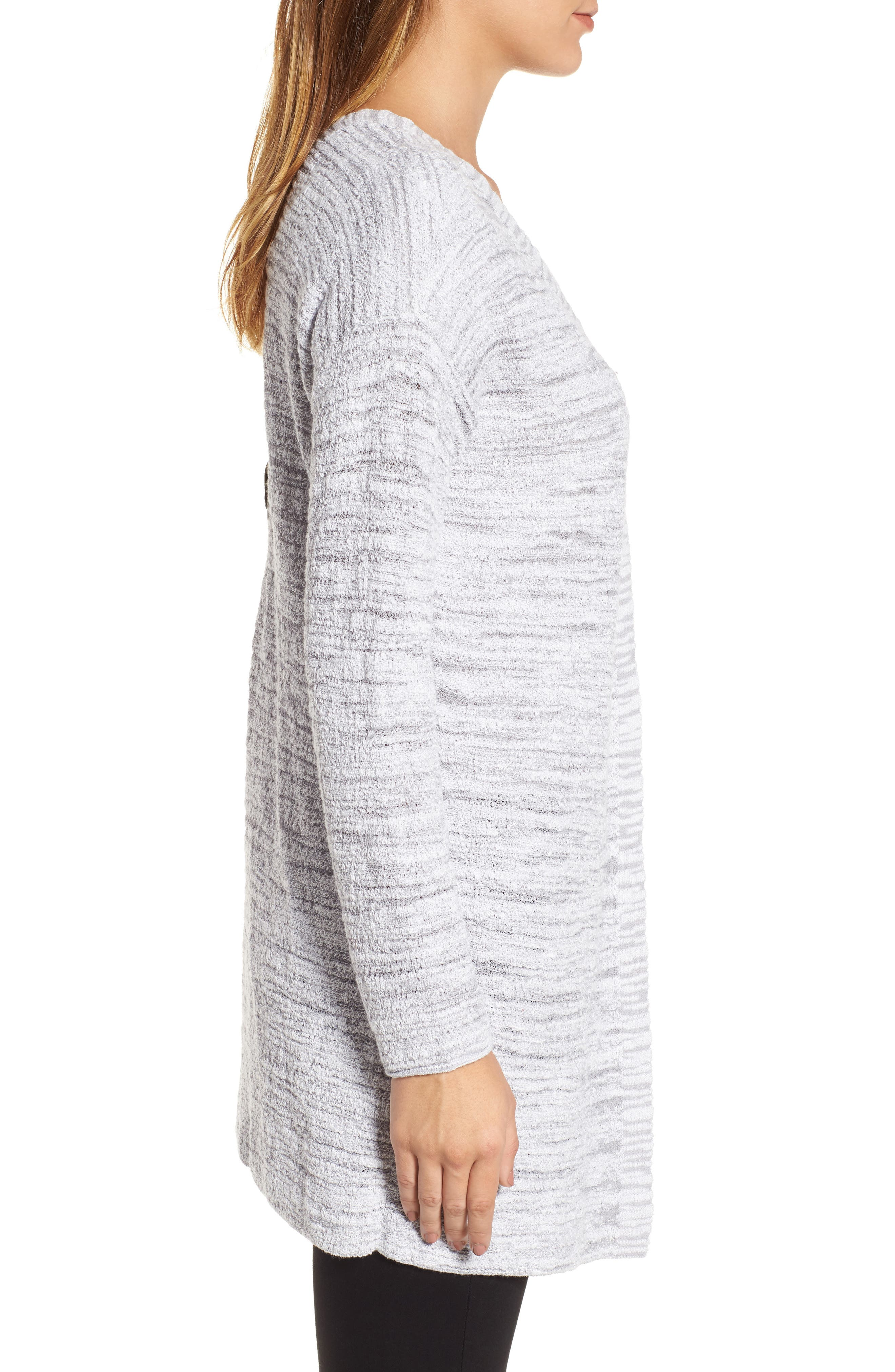 Lace It Back Cardigan,                             Alternate thumbnail 3, color,                             Icy Grey