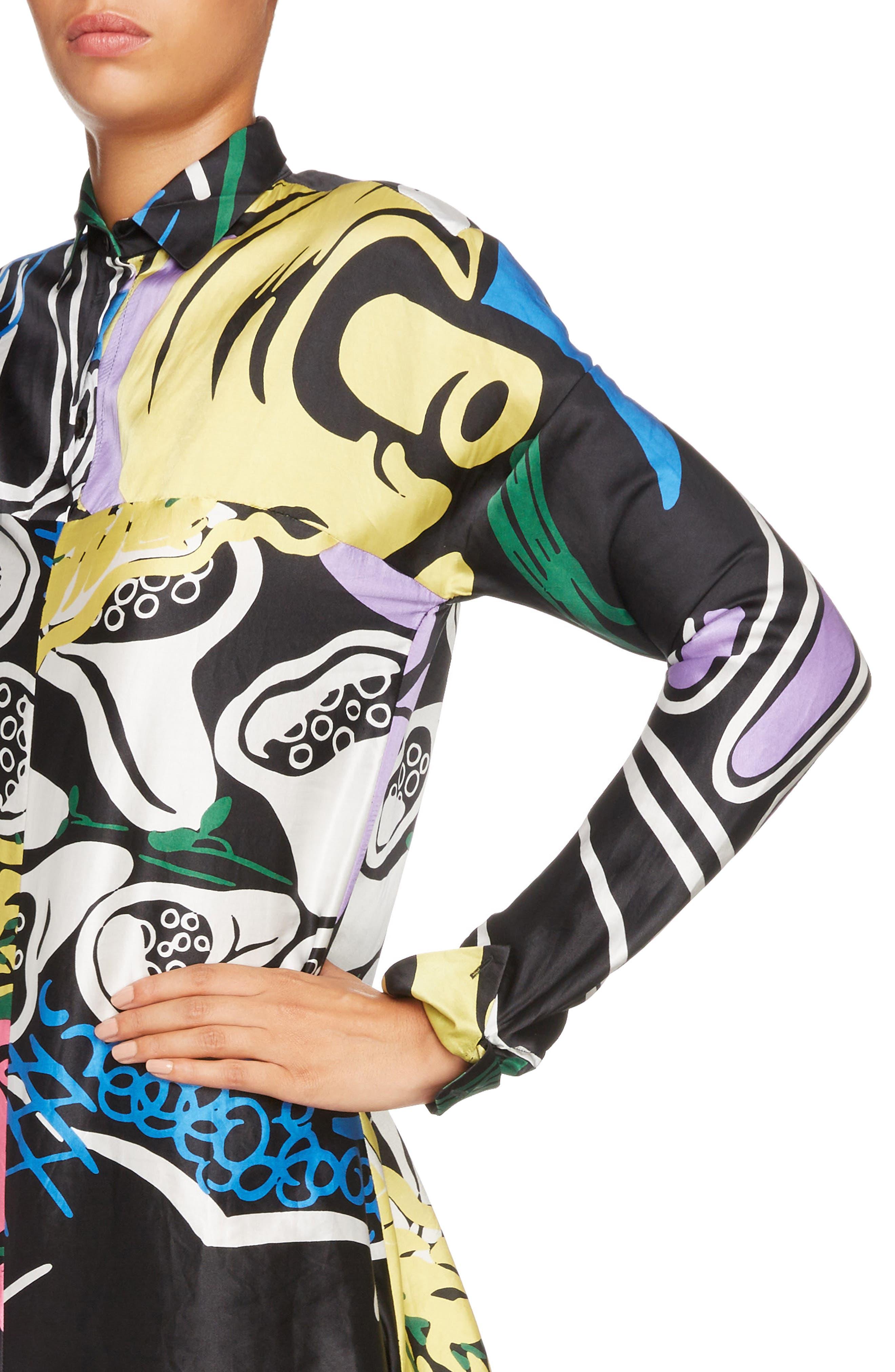 Foxglove Print Dress with Ribbon Detail,                             Alternate thumbnail 4, color,                             Black Foxglove Print