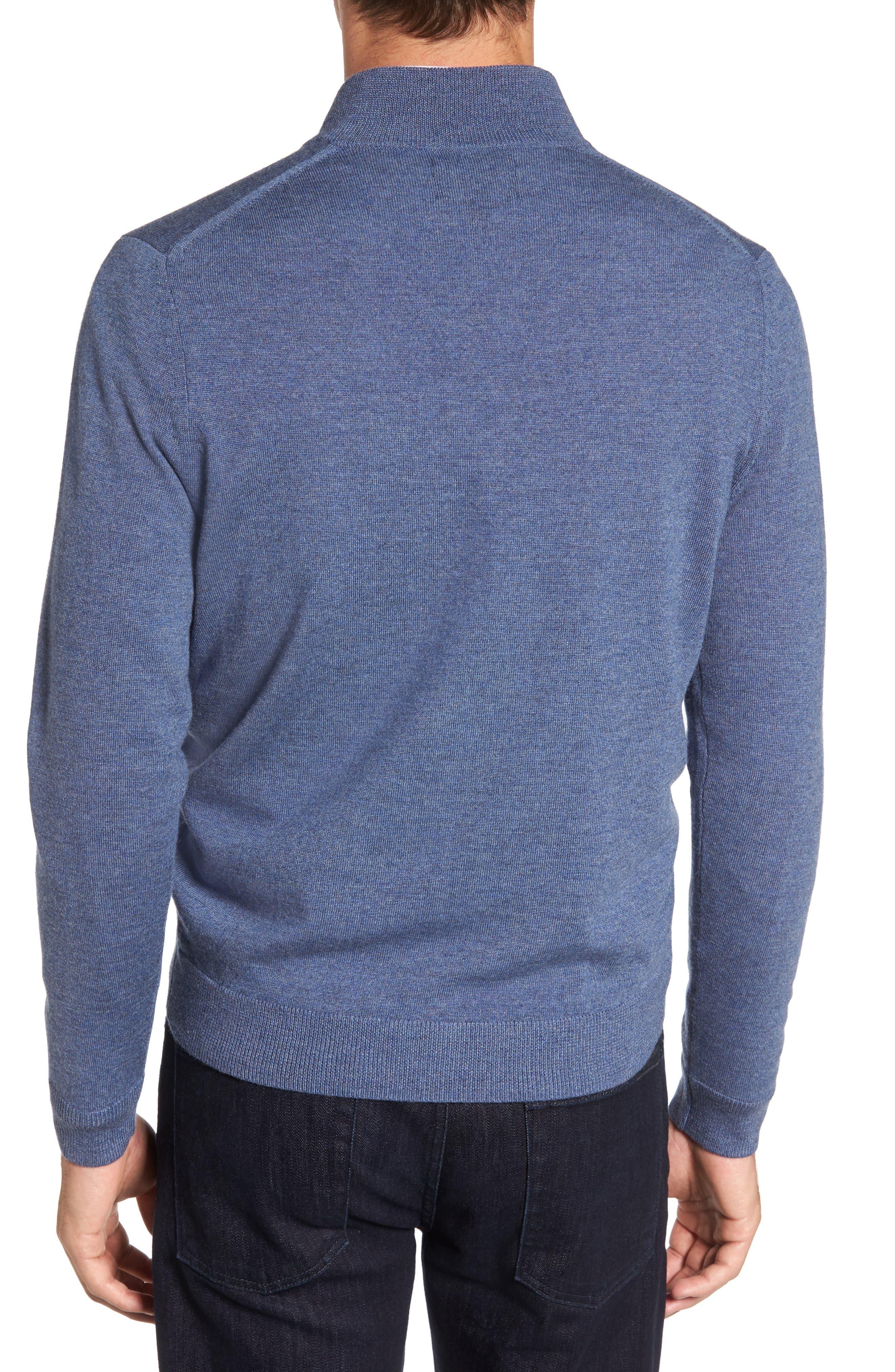 Quarter Zip Merino Wool Pullover,                             Alternate thumbnail 2, color,                             Navy Crown