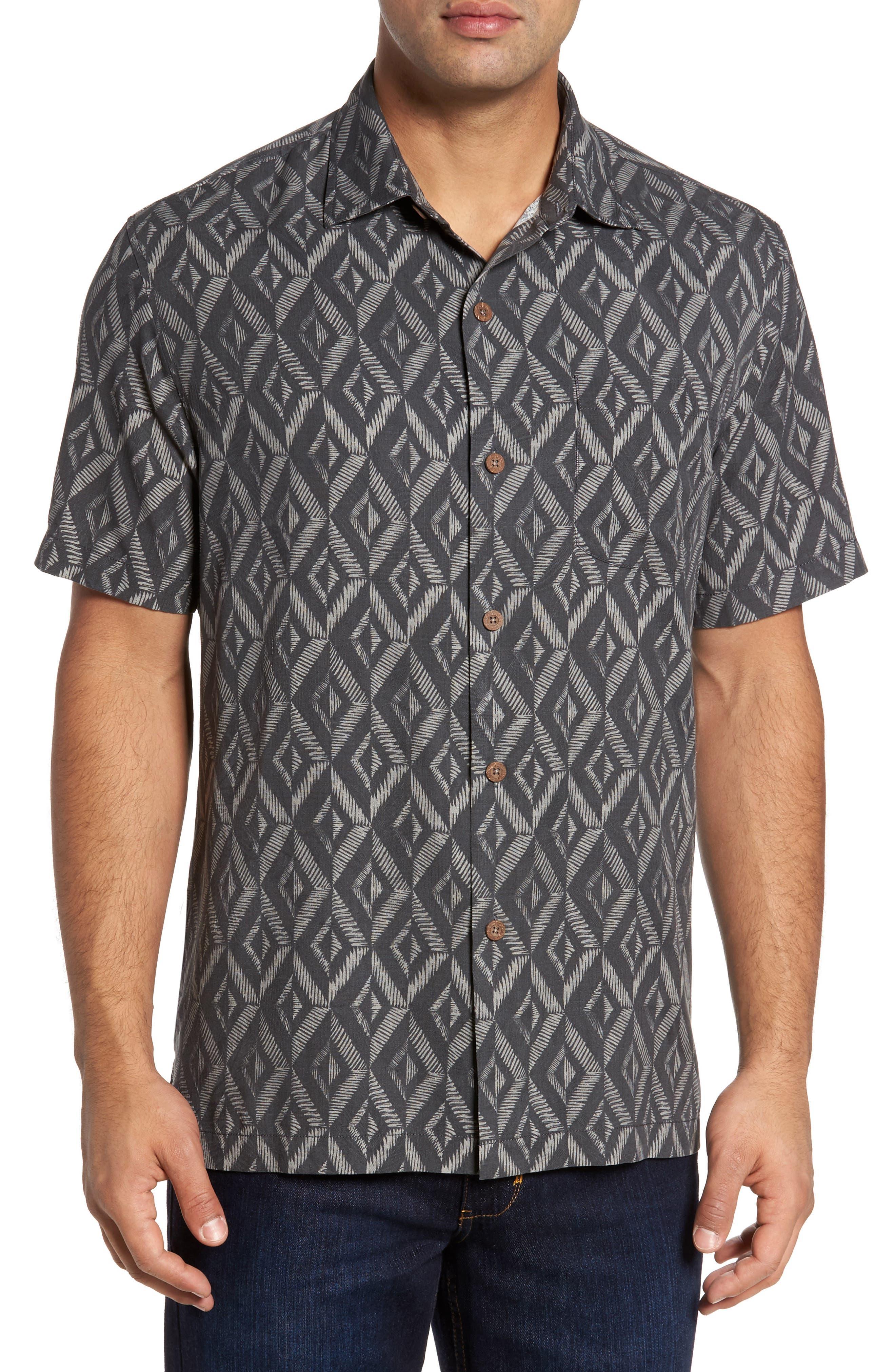 Diamond Tiles Silk Blend Camp Shirt,                         Main,                         color, Jet Black