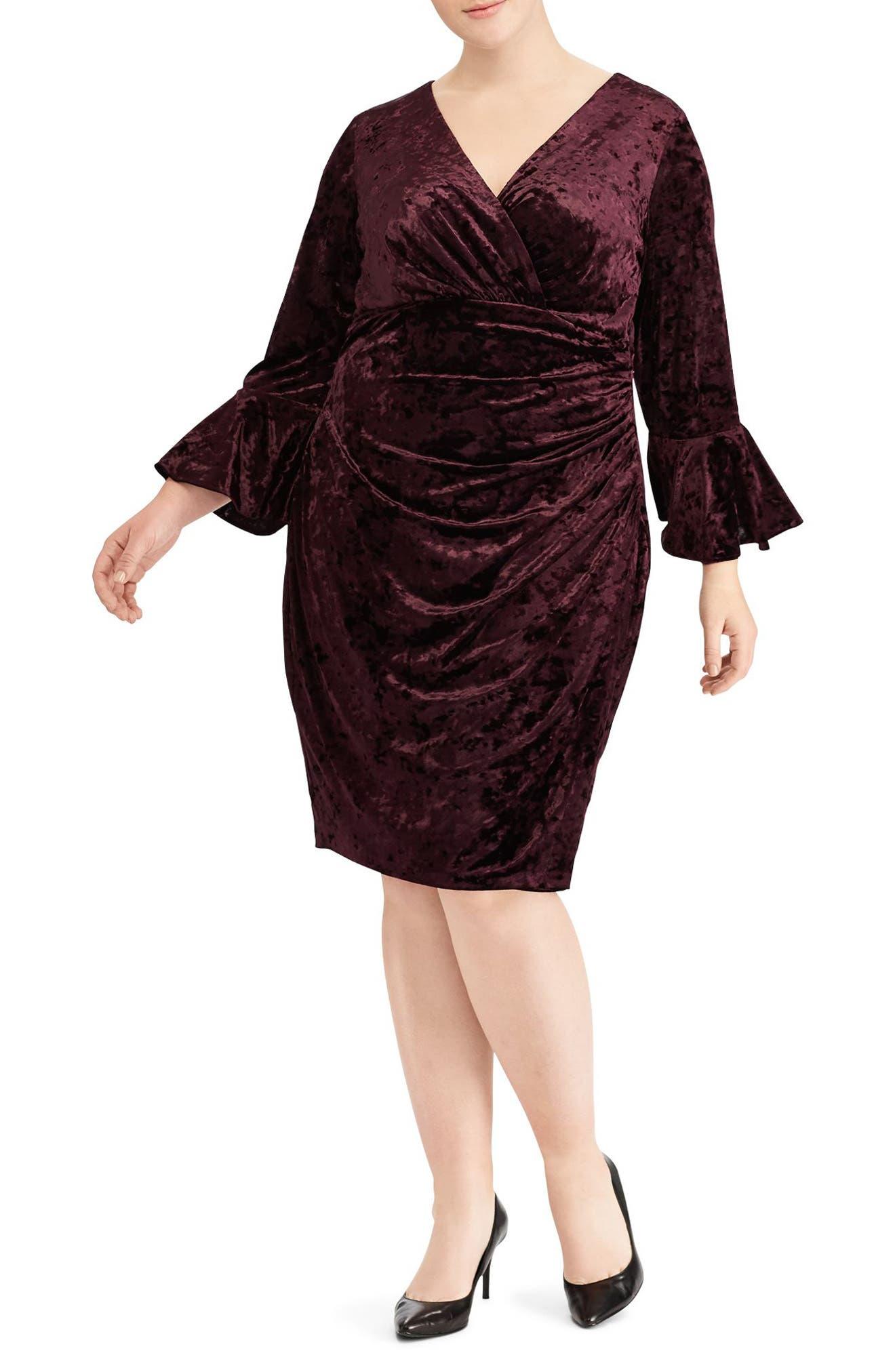 Ruched Crushed Velvet Sheath Dress,                             Main thumbnail 1, color,                             Maroon