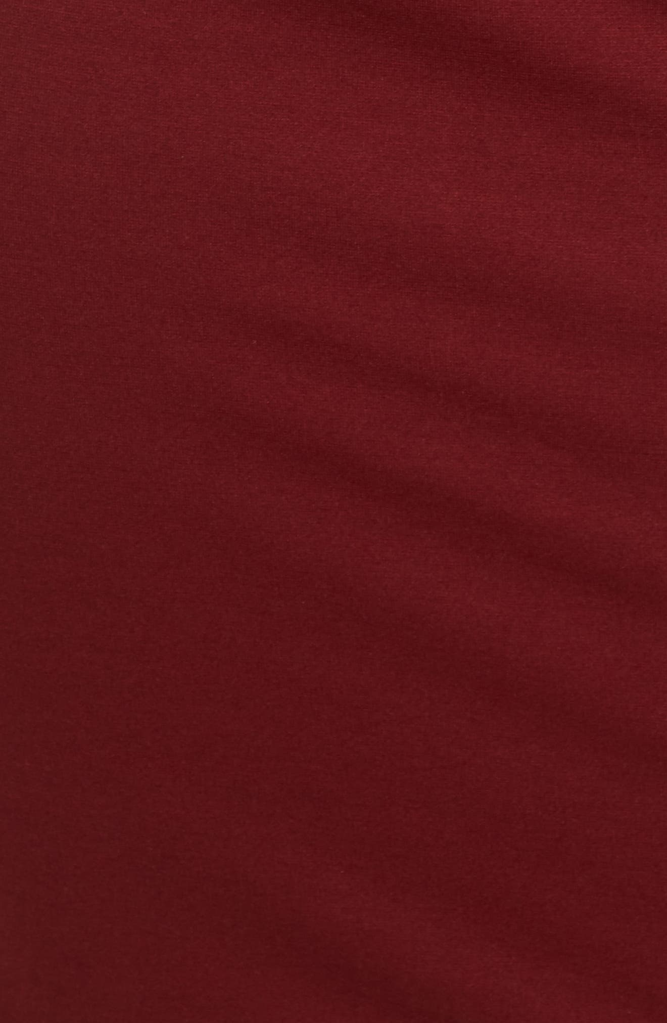 Peplum Overlay Body-Con Dress,                             Alternate thumbnail 6, color,                             Oxblood