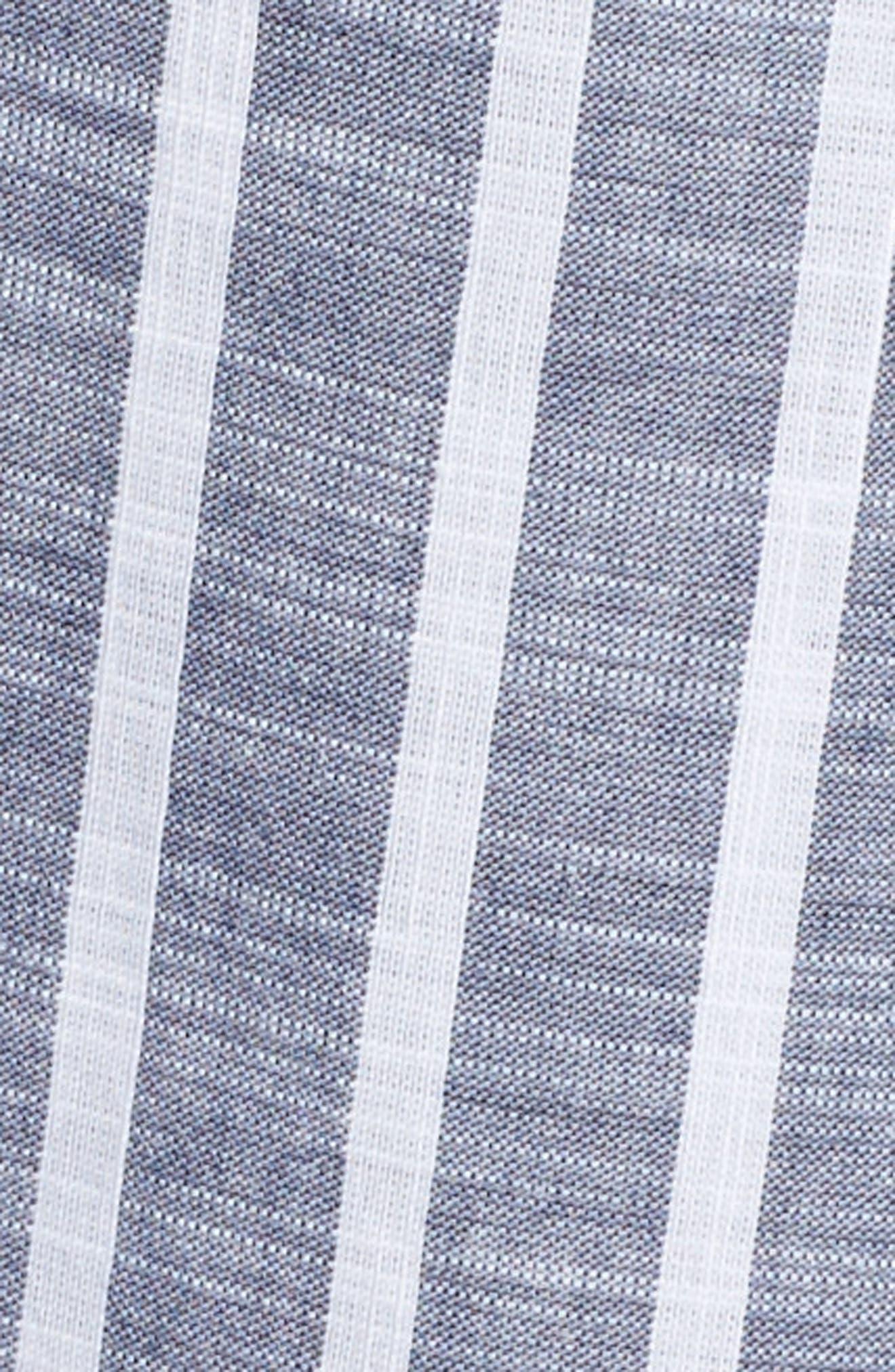 Tie Neck Cotton Tunic,                             Alternate thumbnail 6, color,                             Navy- White Stripe