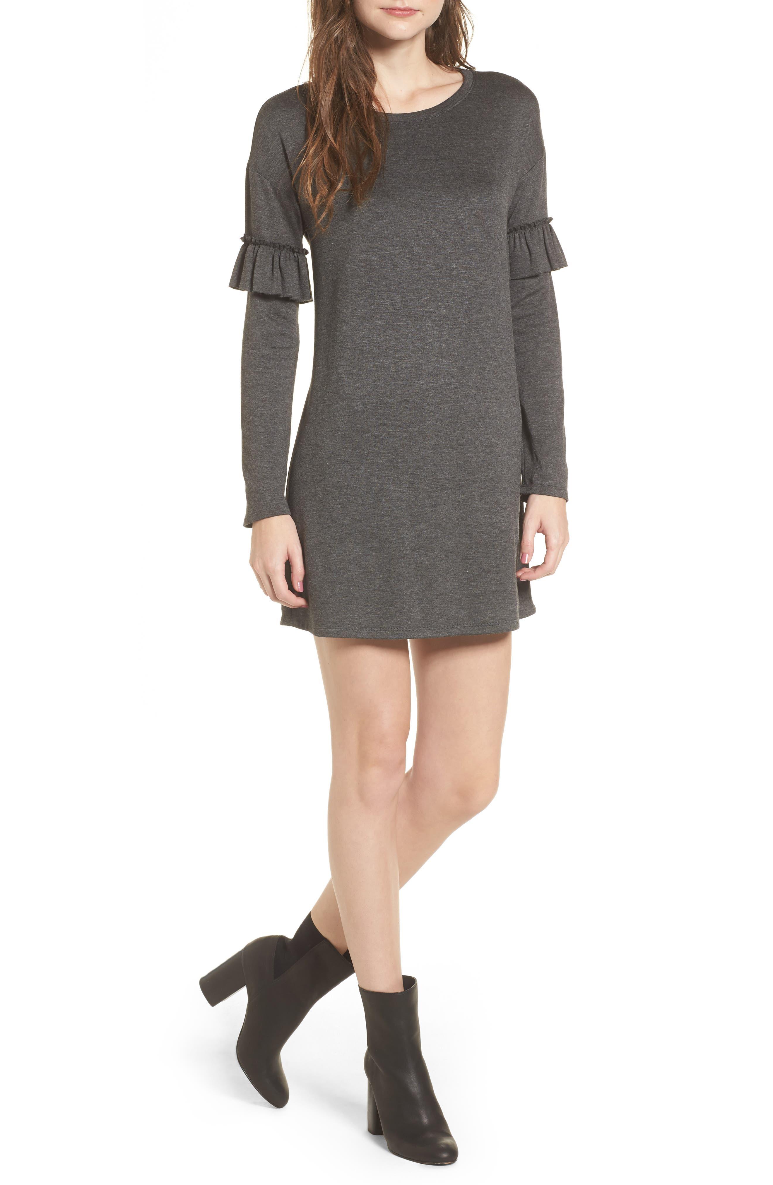Ruffle Sleeve Sweater Dress,                             Main thumbnail 1, color,                             Charcoal