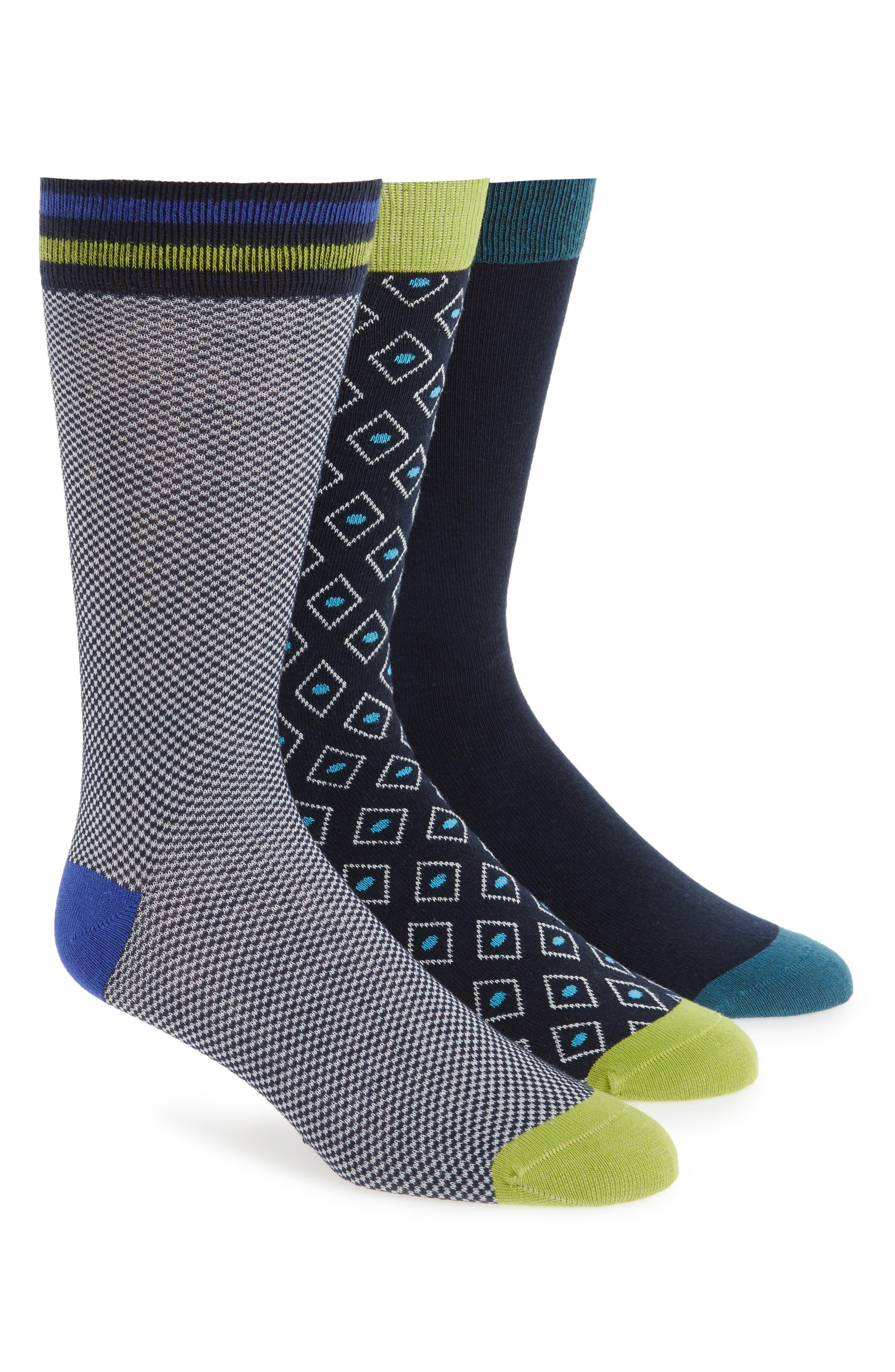3-Pack Socks,                         Main,                         color, Blue Assorted