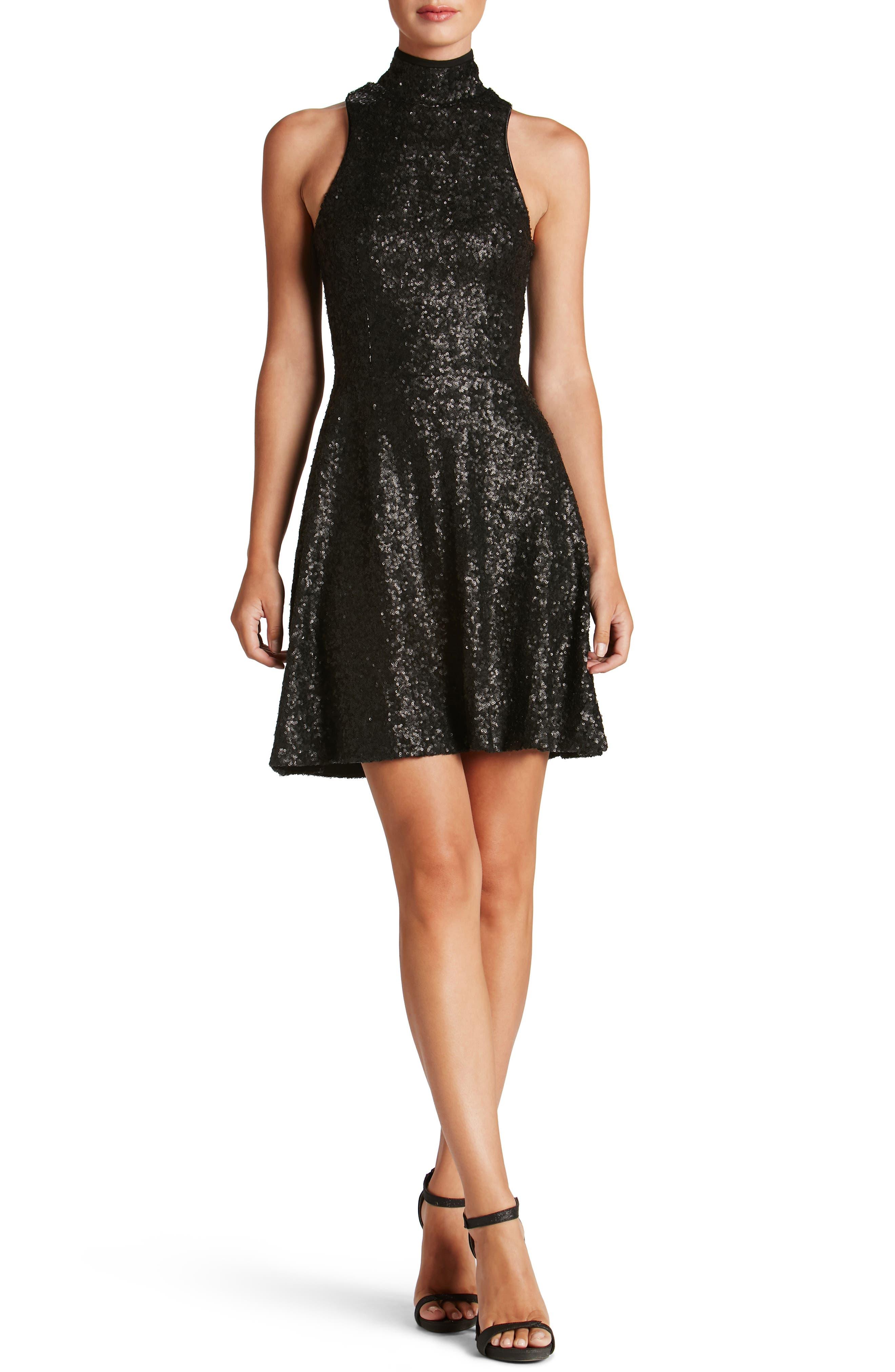 Stevie Sequin Fit & Flare Dress,                             Main thumbnail 1, color,                             Matte Black