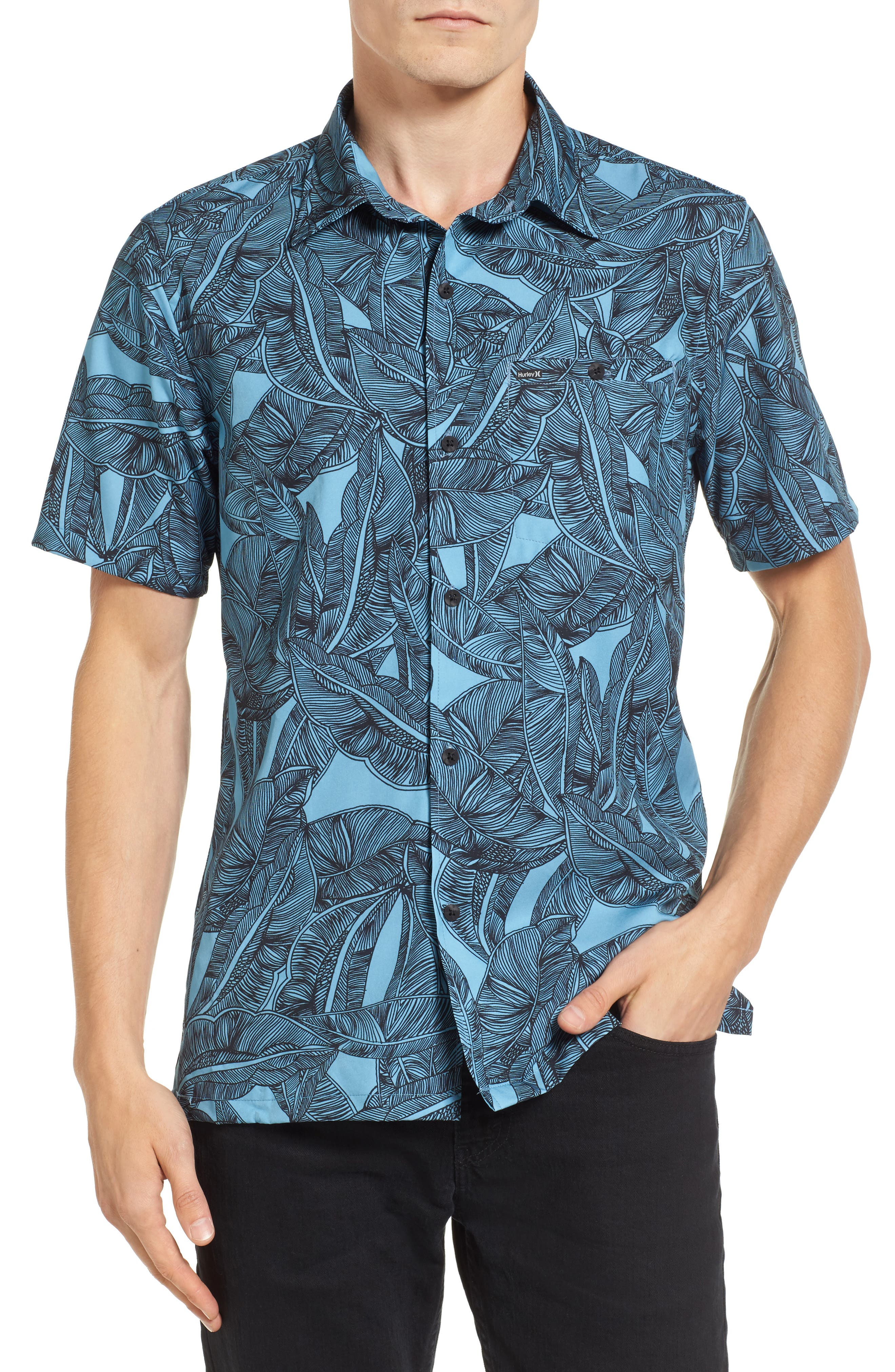 Print Woven Shirt,                         Main,                         color, Cerulean