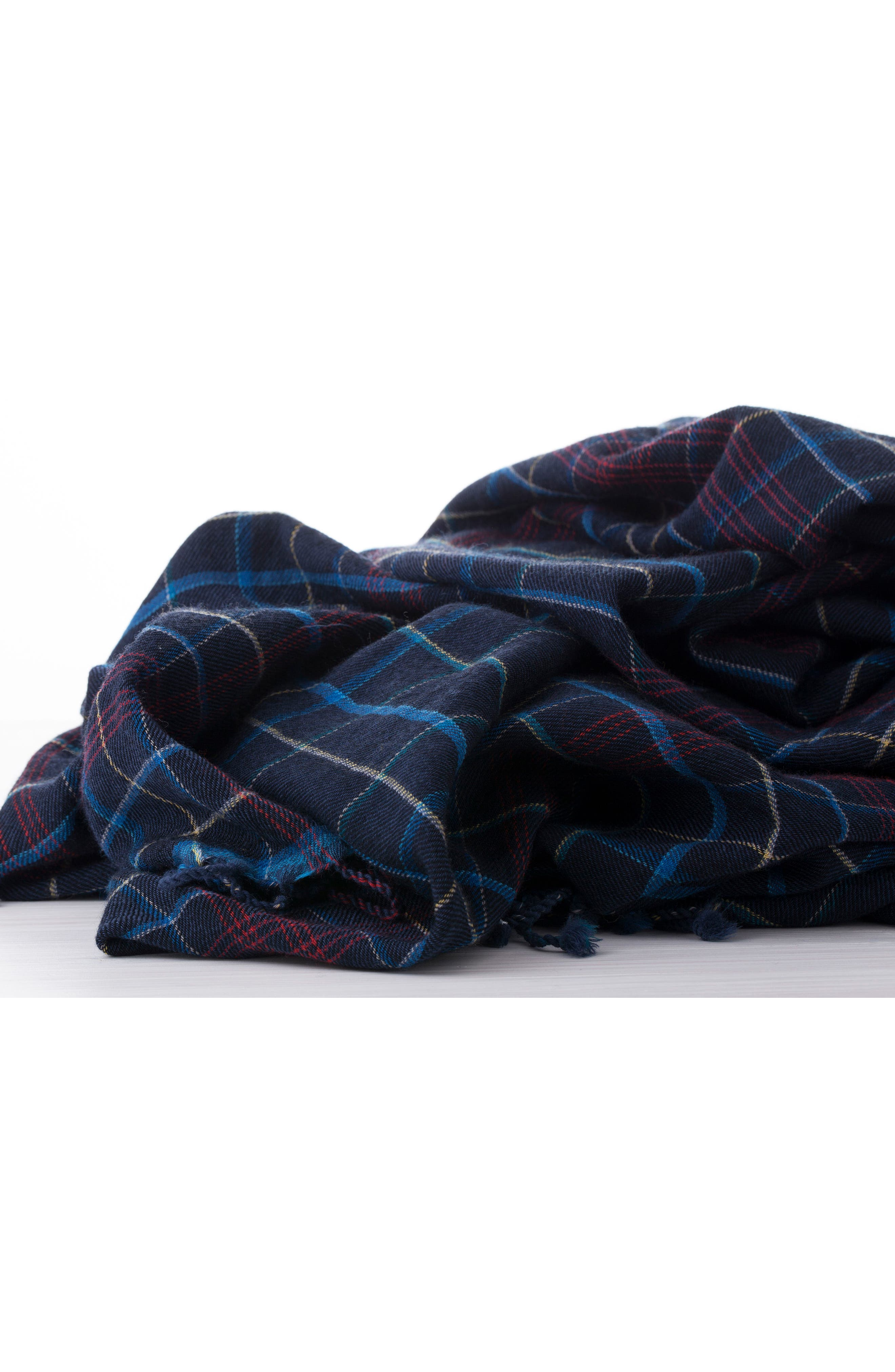 Plaid Double Face Merino Wool Throw,                             Alternate thumbnail 3, color,                             Navy Multi