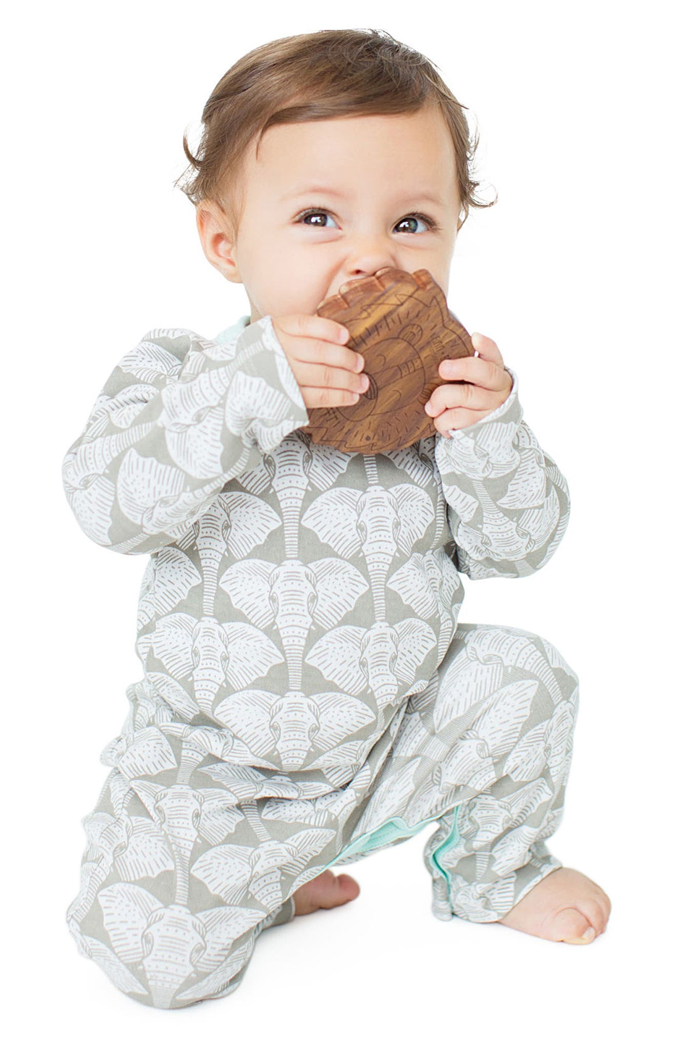 Organic Cotton Bodysuit, Hardwood Teething Ring & Rattle Set,                             Alternate thumbnail 8, color,                             Safari
