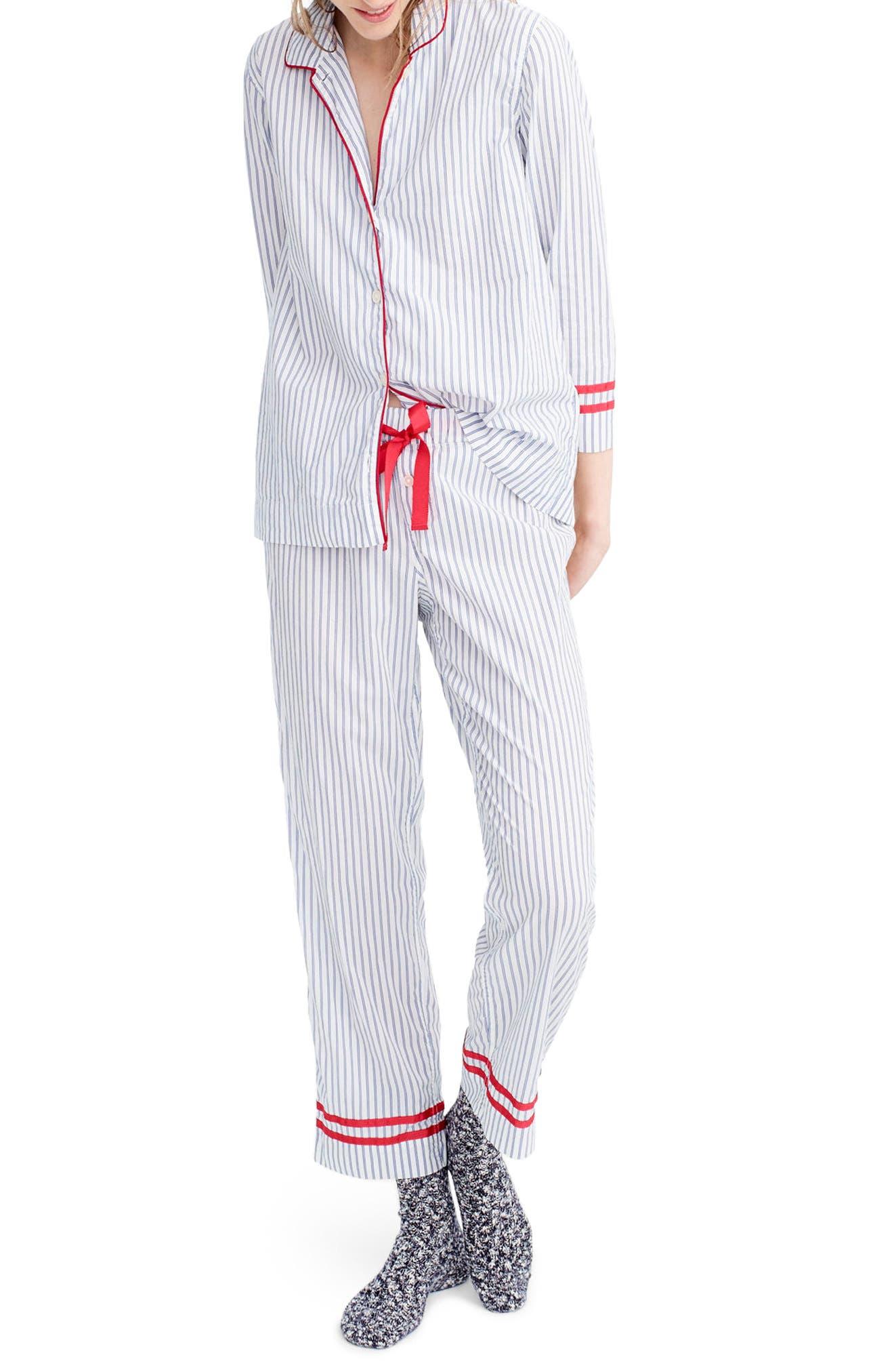 Stripe Pajamas,                             Main thumbnail 1, color,                             Ellen Stripe Ivory/ Cobalt