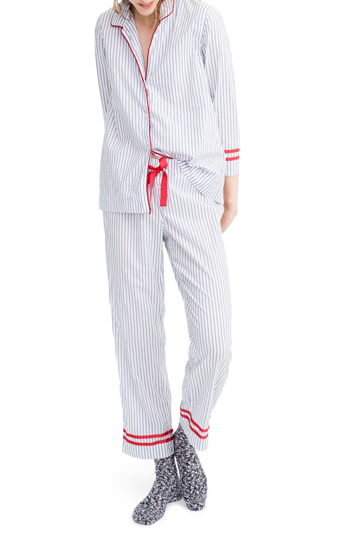 Stripe Pajamas,                         Main,                         color, Ellen Stripe Ivory/ Cobalt