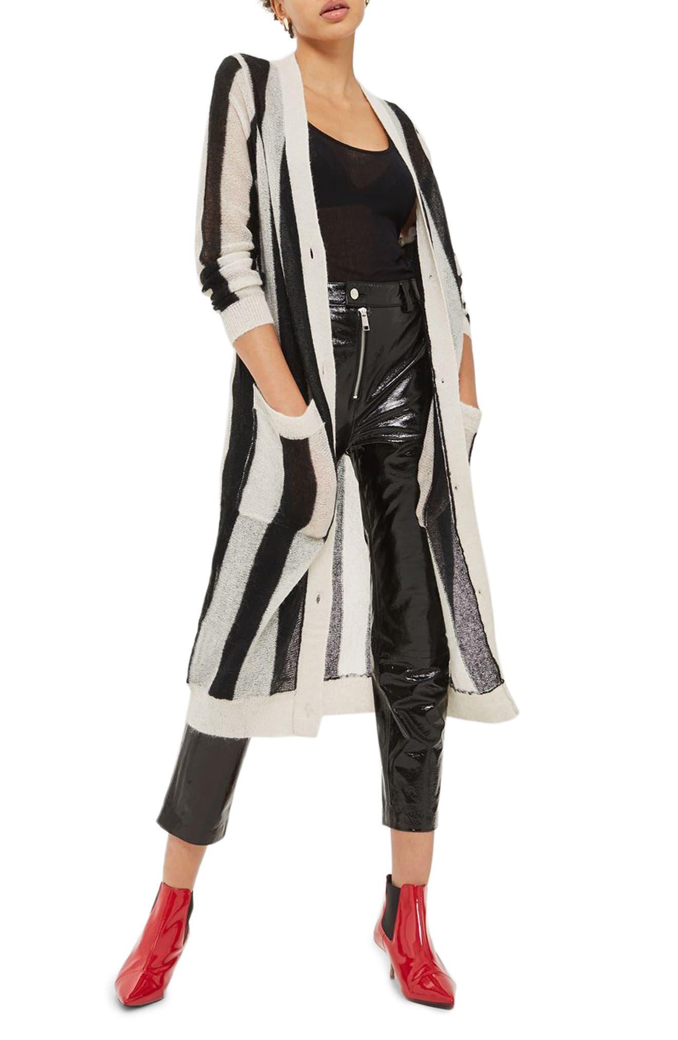 Topshop Stripe Longline Cardigan