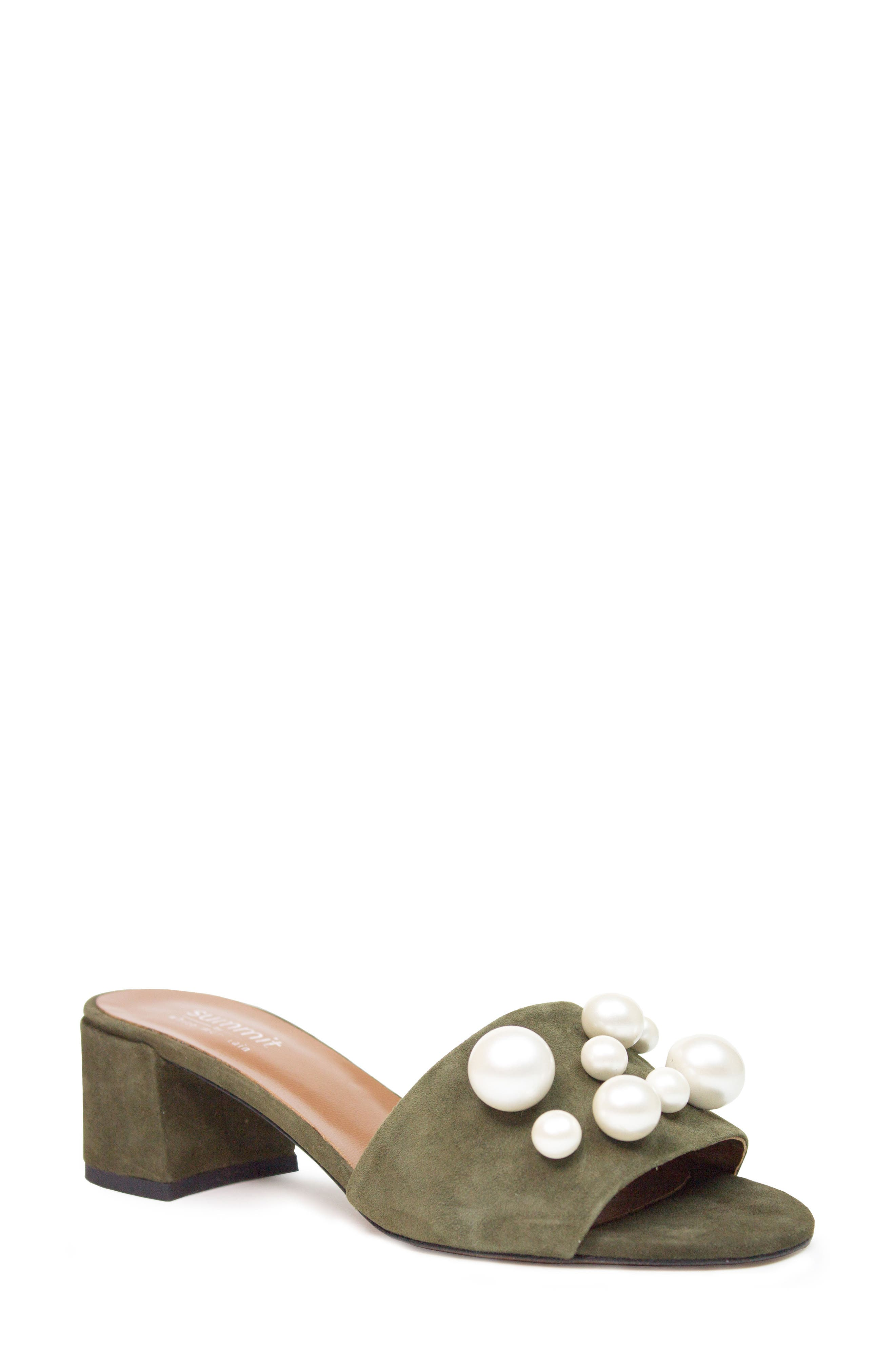 Ariella Beaded Slide Mule,                         Main,                         color, Olive Suede