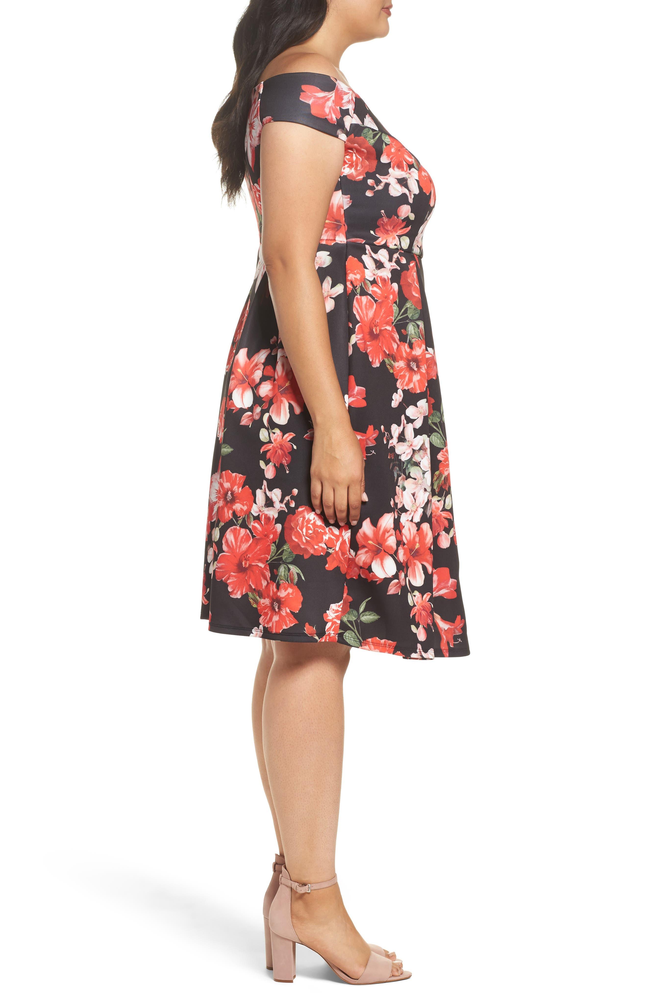 Floral Fit & Flare Dress,                             Alternate thumbnail 3, color,                             Pink