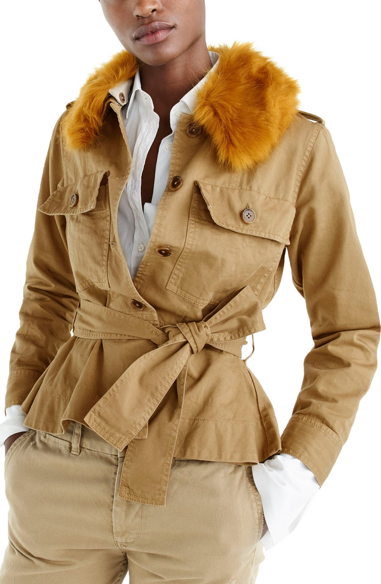 Alternate Image 1 Selected - J.Crew Peplum Chino Faux Fur Collar Jacket