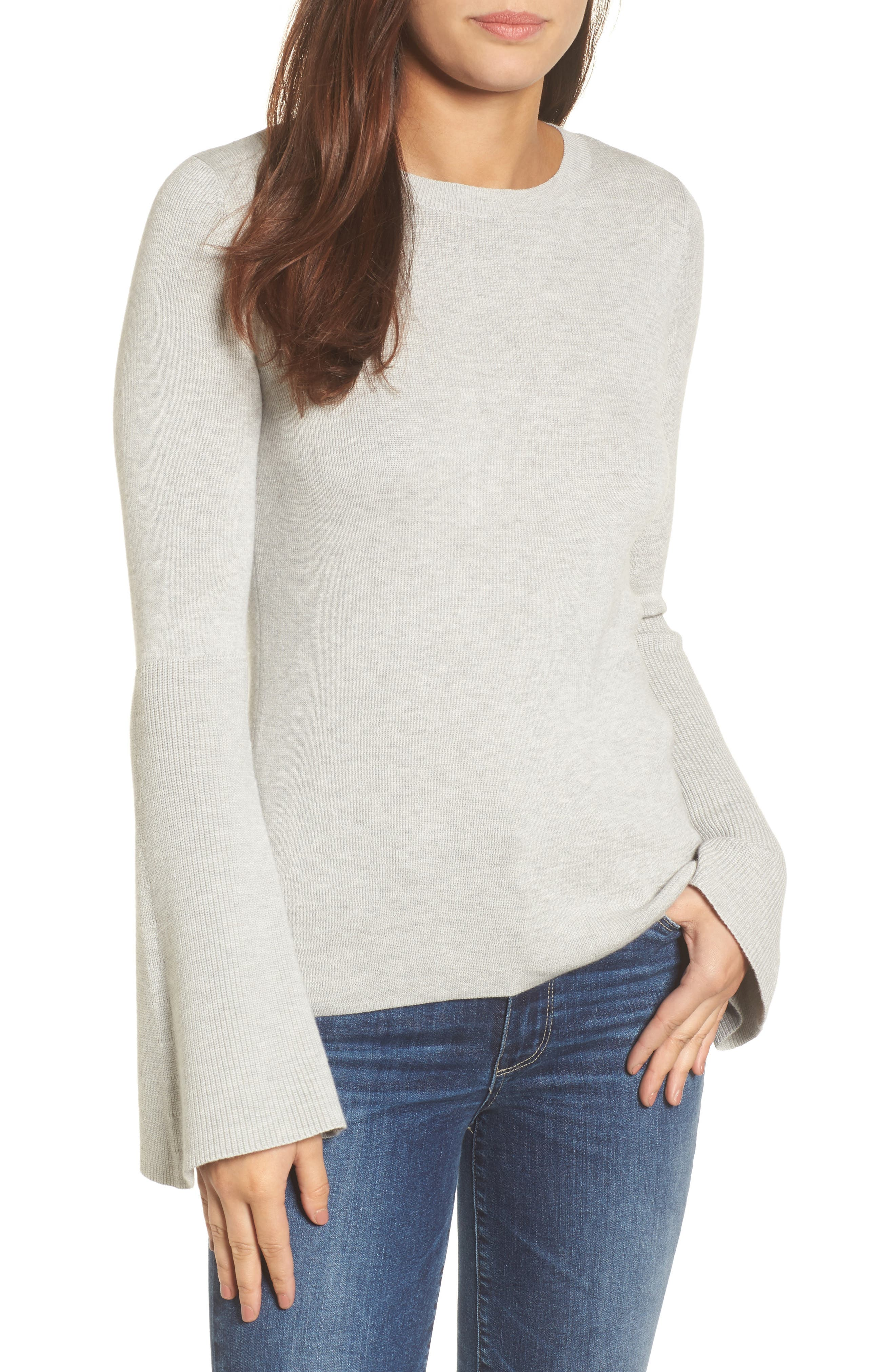 Bell Sleeve Rib Sweater,                         Main,                         color, Grey Light Heather