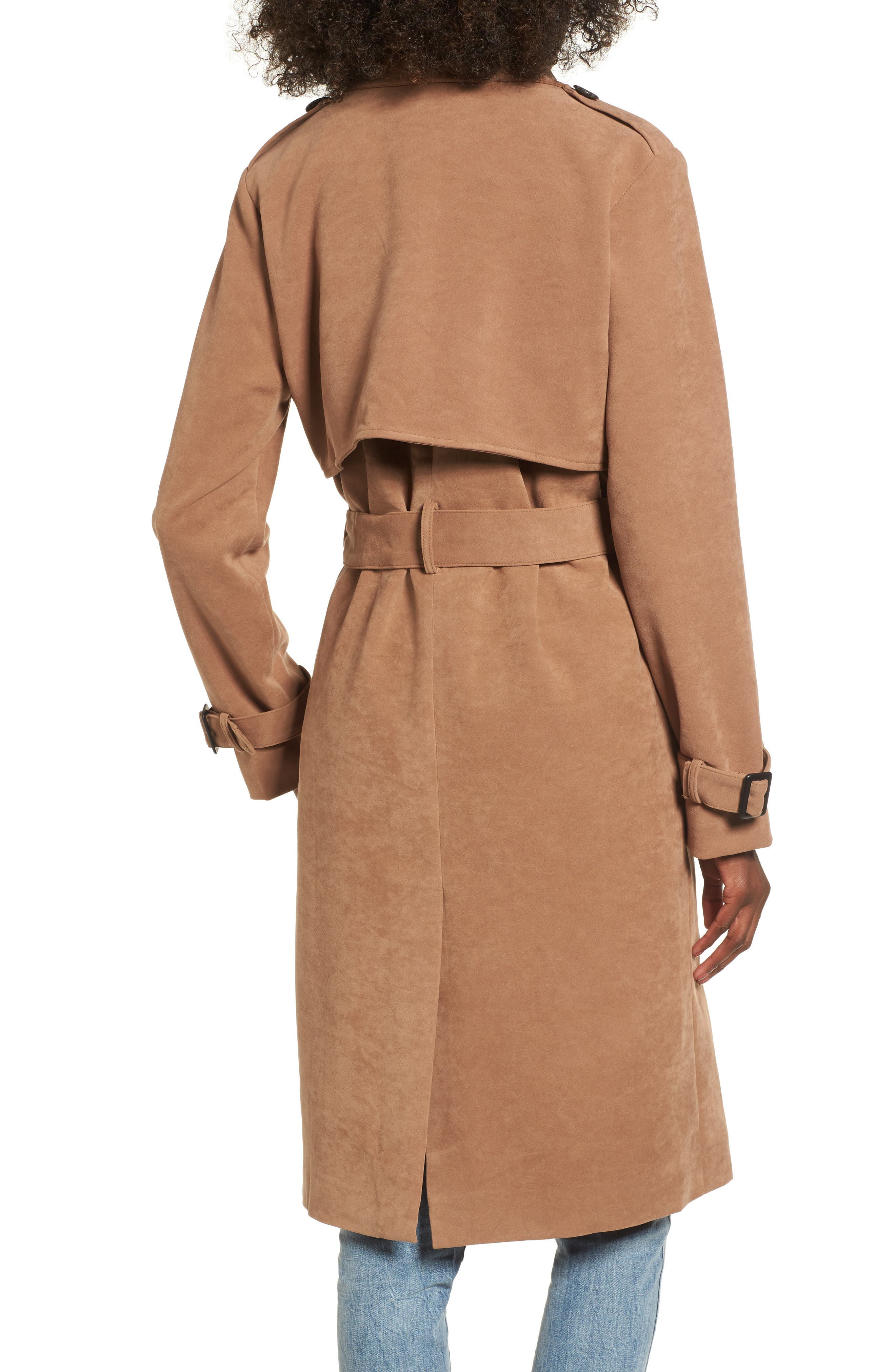 Double-Breasted Trench Coat,                             Alternate thumbnail 2, color,                             Taupe