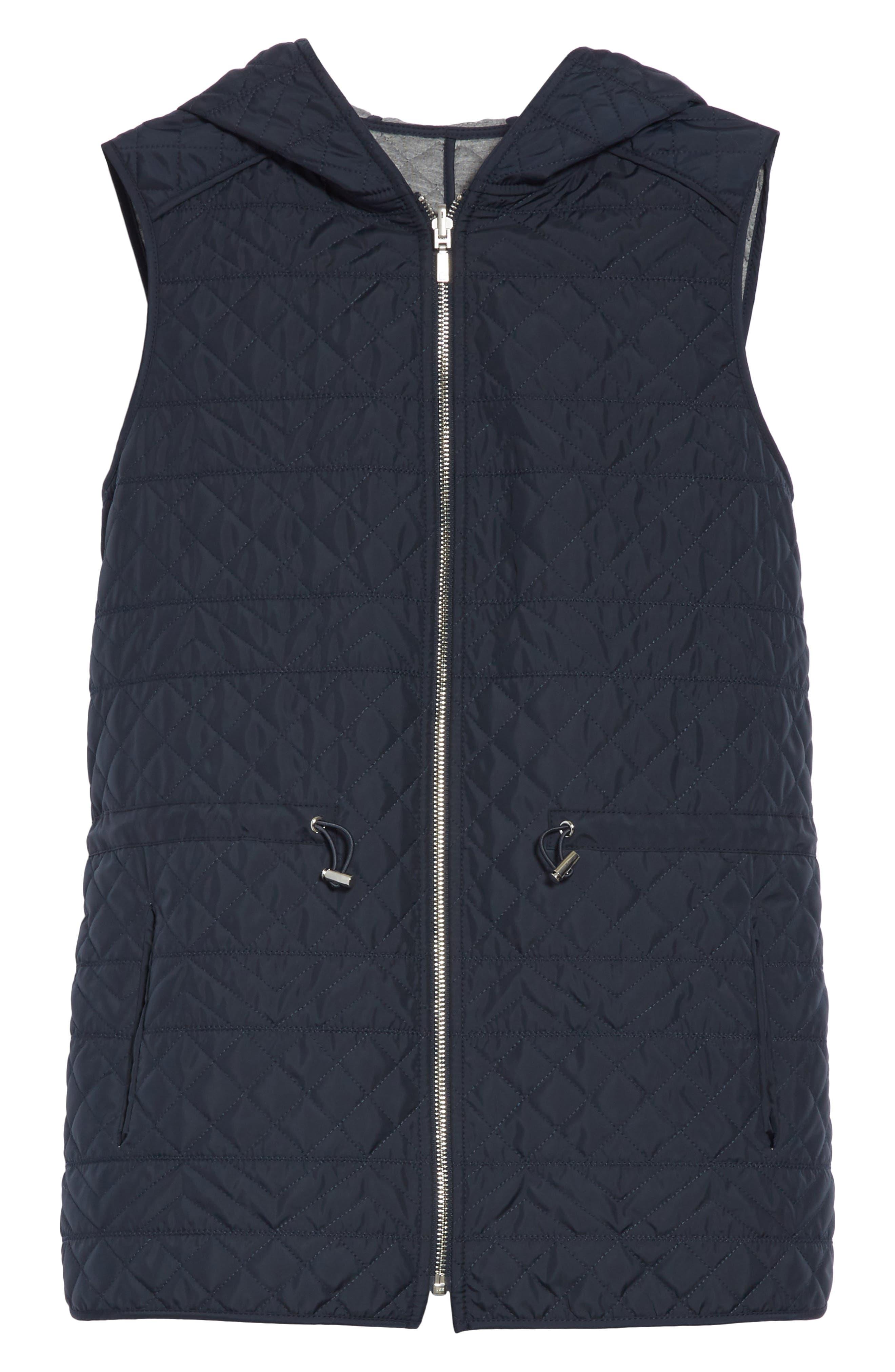 Ginny Reversible Hooded Vest,                             Alternate thumbnail 8, color,                             Ink/ Nickel Melange