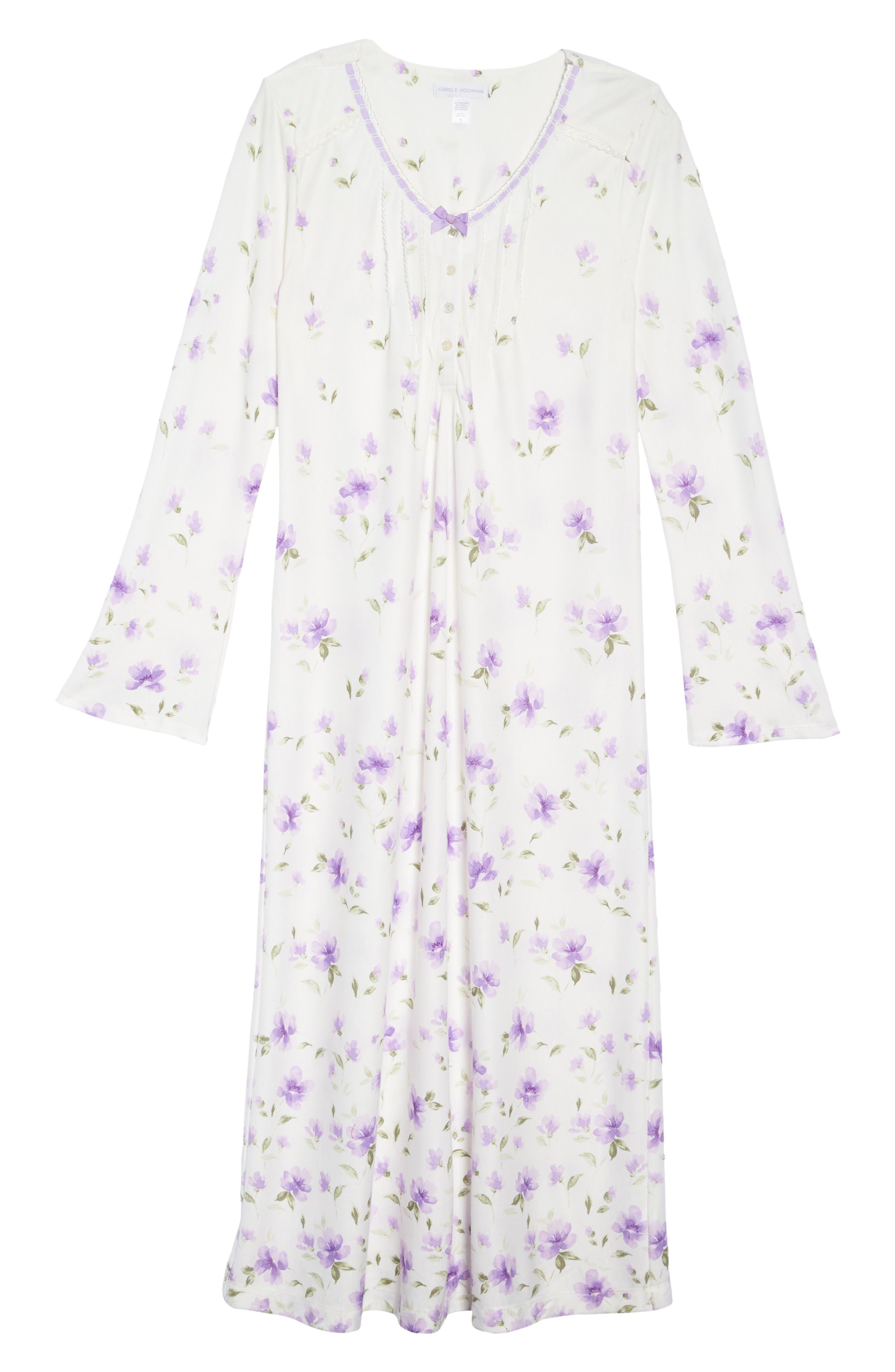 Long Nightgown,                             Alternate thumbnail 4, color,                             Watercolor Floral Border