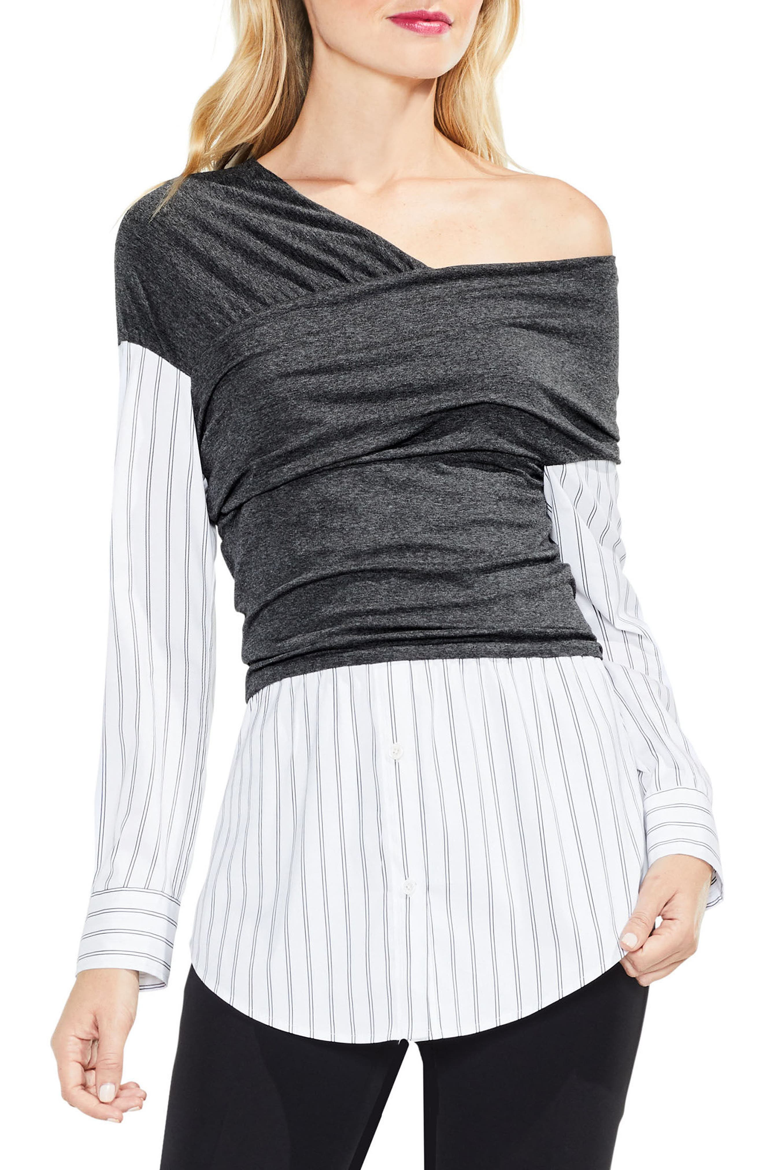 Alternate Image 1 Selected - Vince Camuto One-Shoulder Layered Look Top