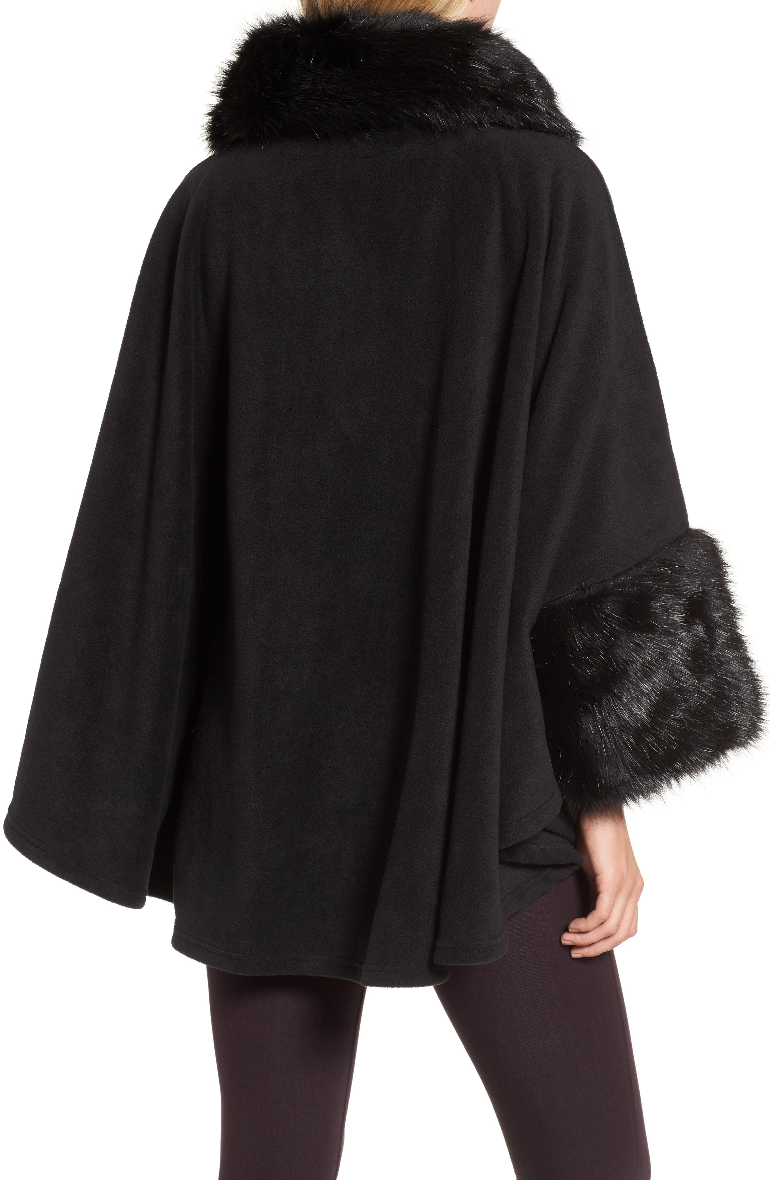 Chelsea Cape with Faux Fur Trim,                             Alternate thumbnail 2, color,                             Black/ Black Mink