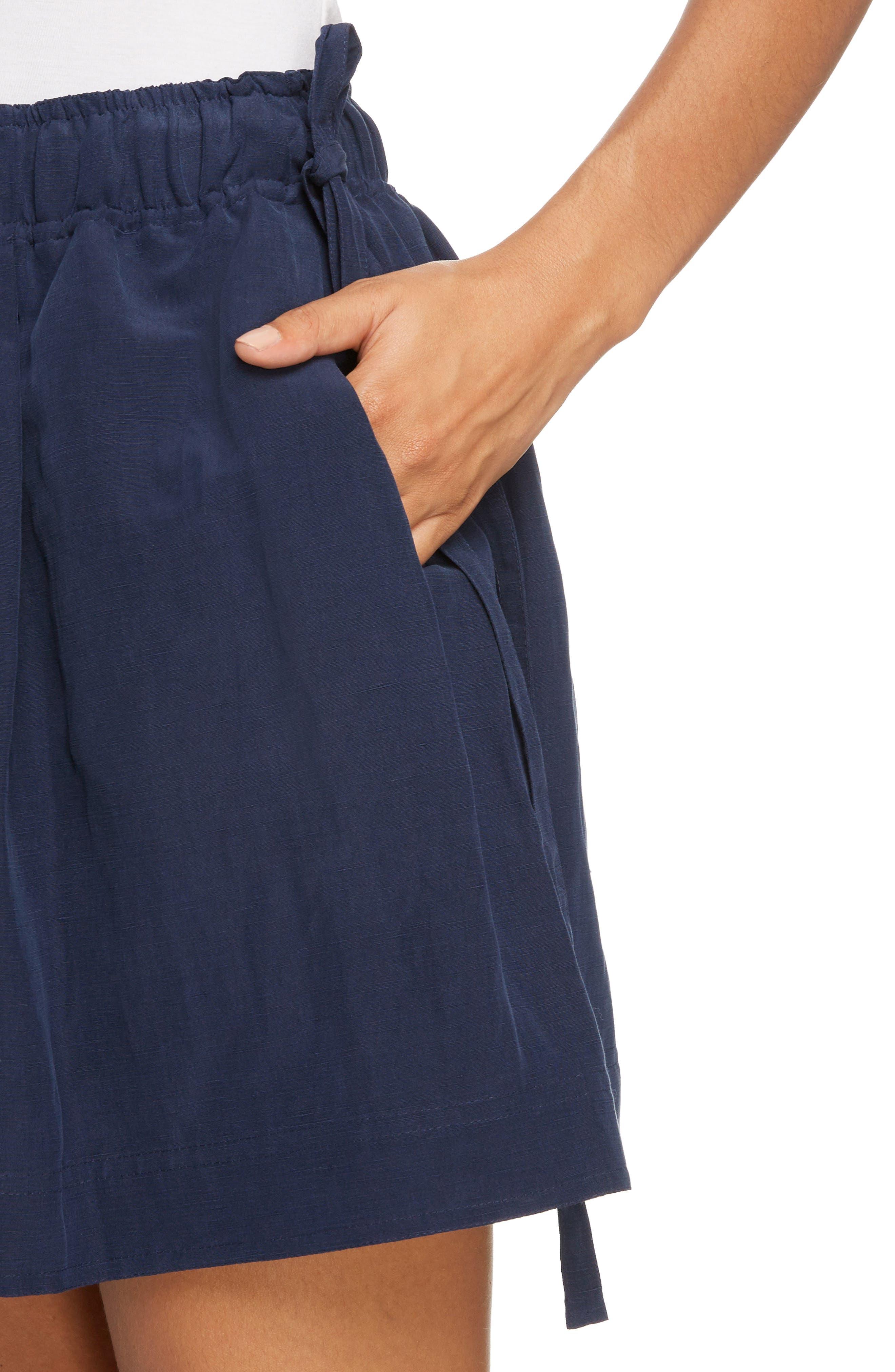 Leather Pocket Linen & Silk Boxer Shorts,                             Alternate thumbnail 7, color,                             Navy