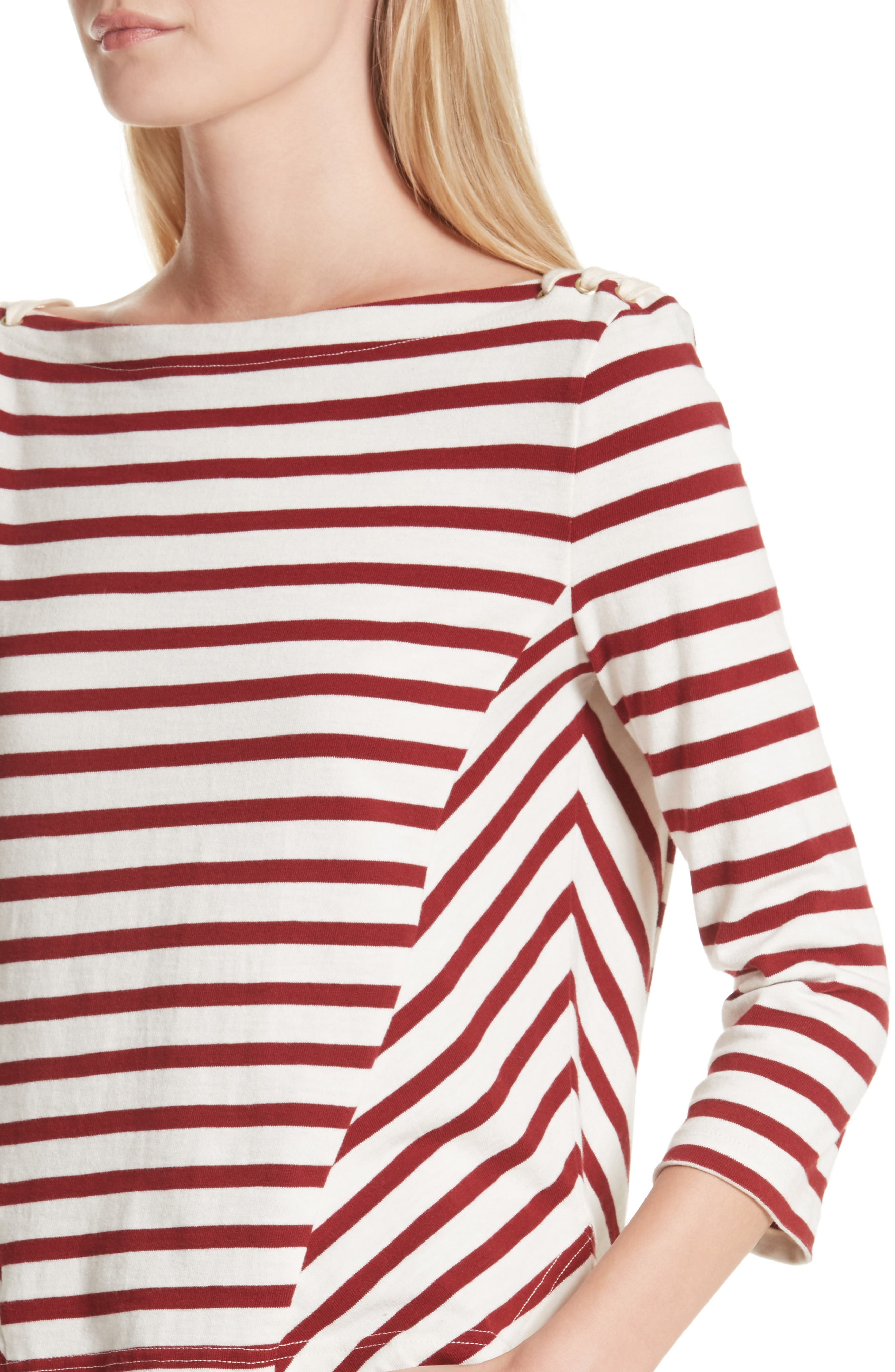 Lincoln Mariner Top,                             Alternate thumbnail 4, color,                             Ecru/ Red