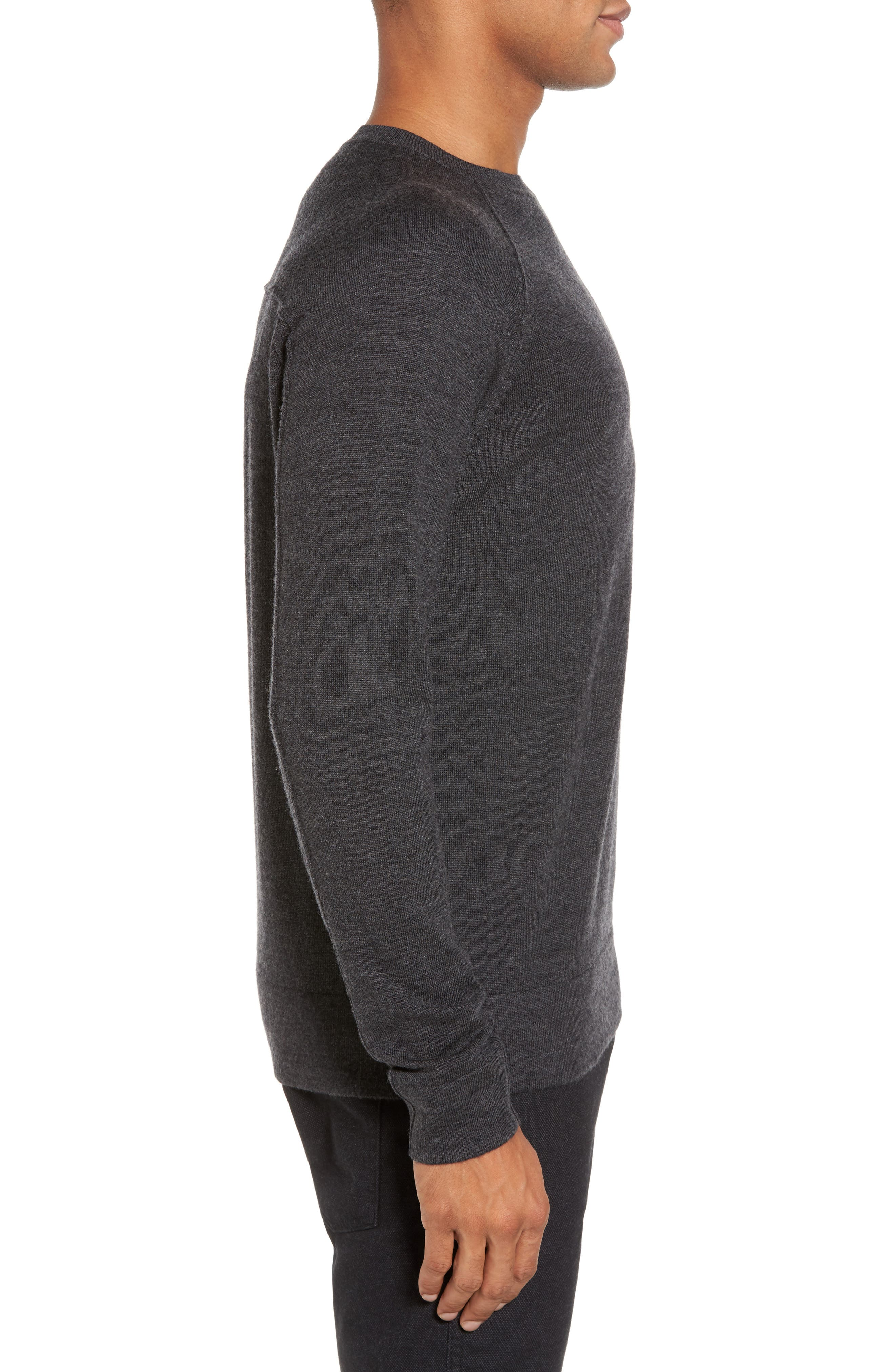 Superlight Slim Modern Wool Sweater,                             Alternate thumbnail 3, color,                             Charcoal