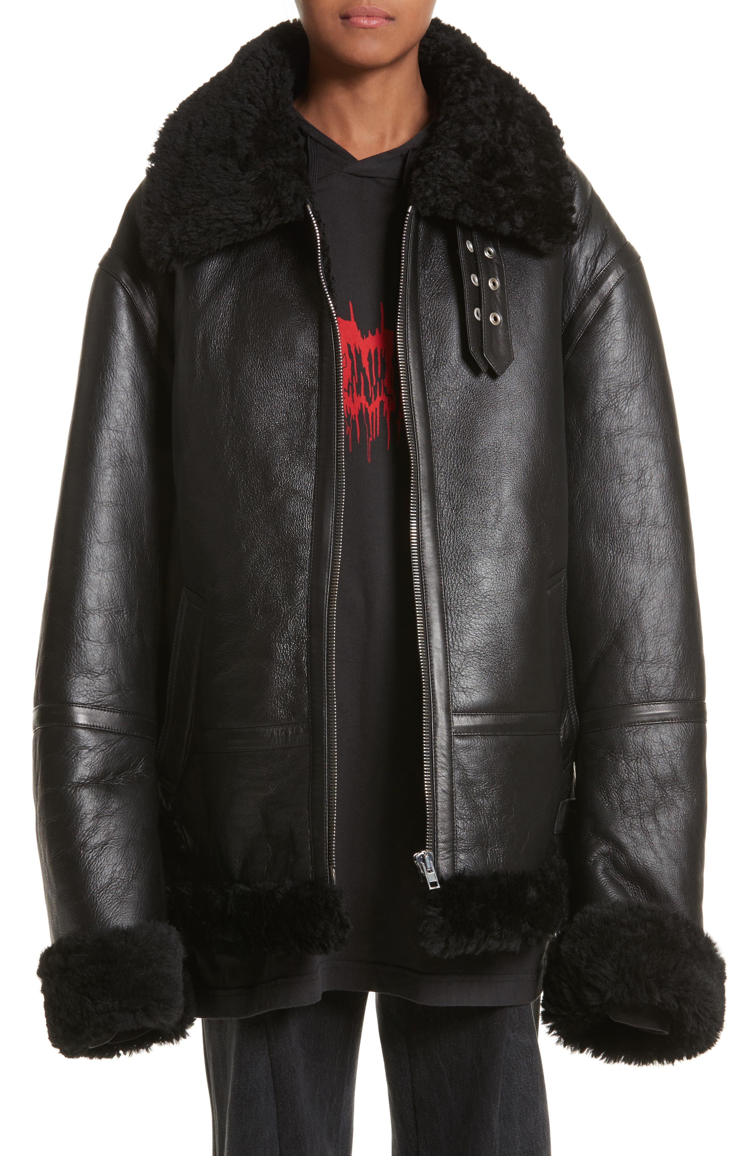 Genuine Shearling Jacket,                         Main,                         color, Black