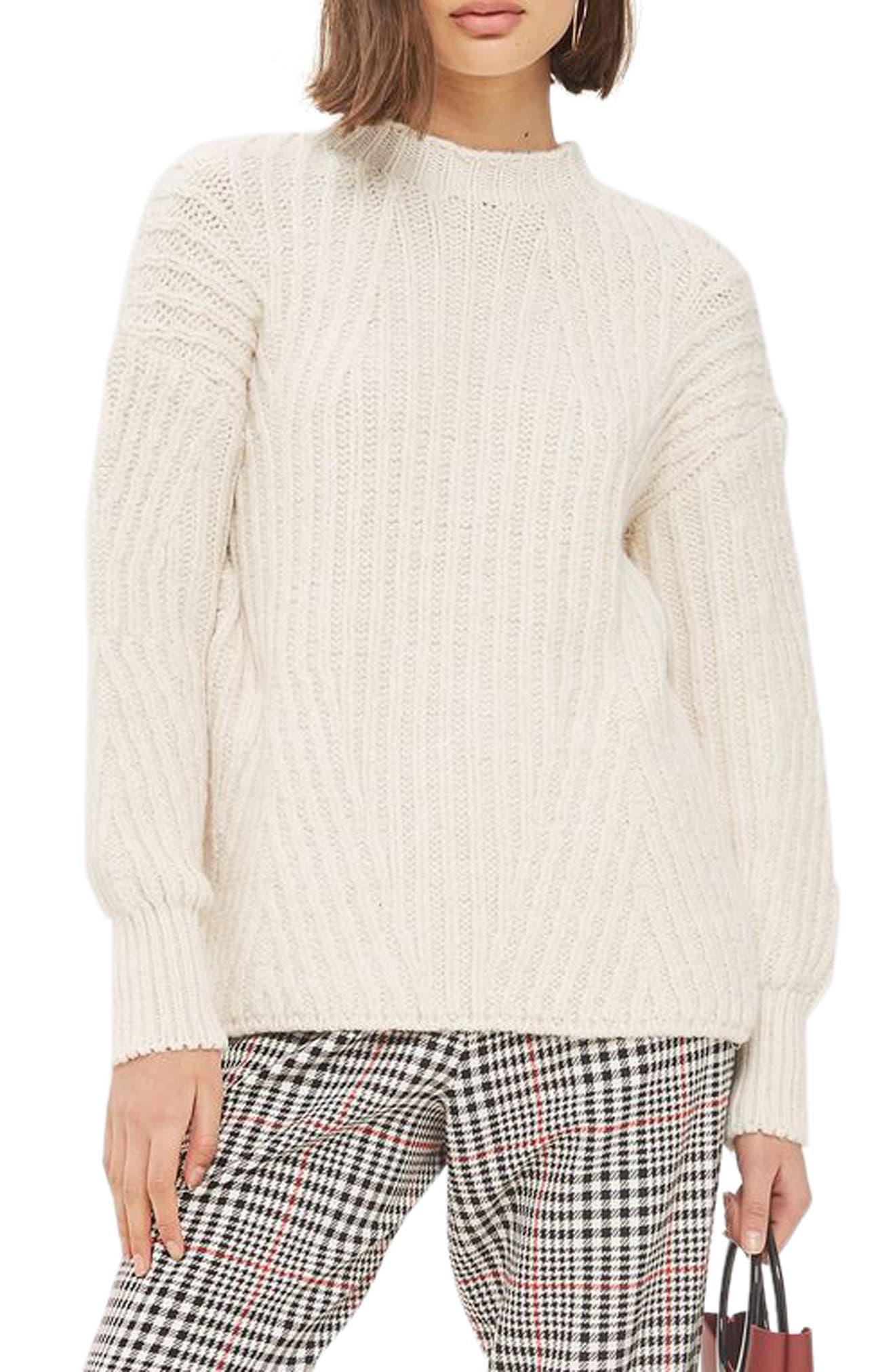 Deflected Rib Sweater,                             Main thumbnail 1, color,                             Ivory