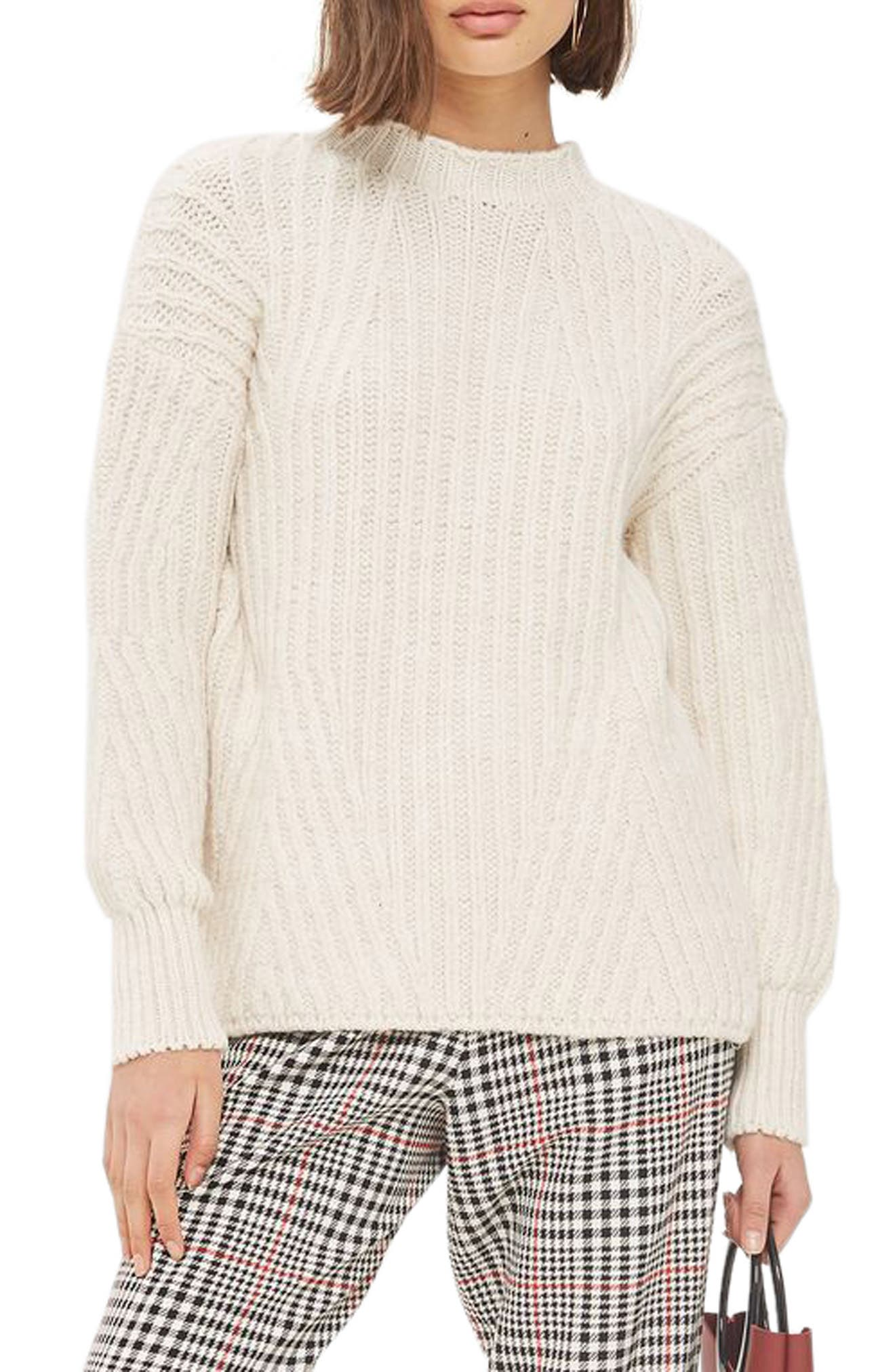Deflected Rib Sweater,                         Main,                         color, Ivory