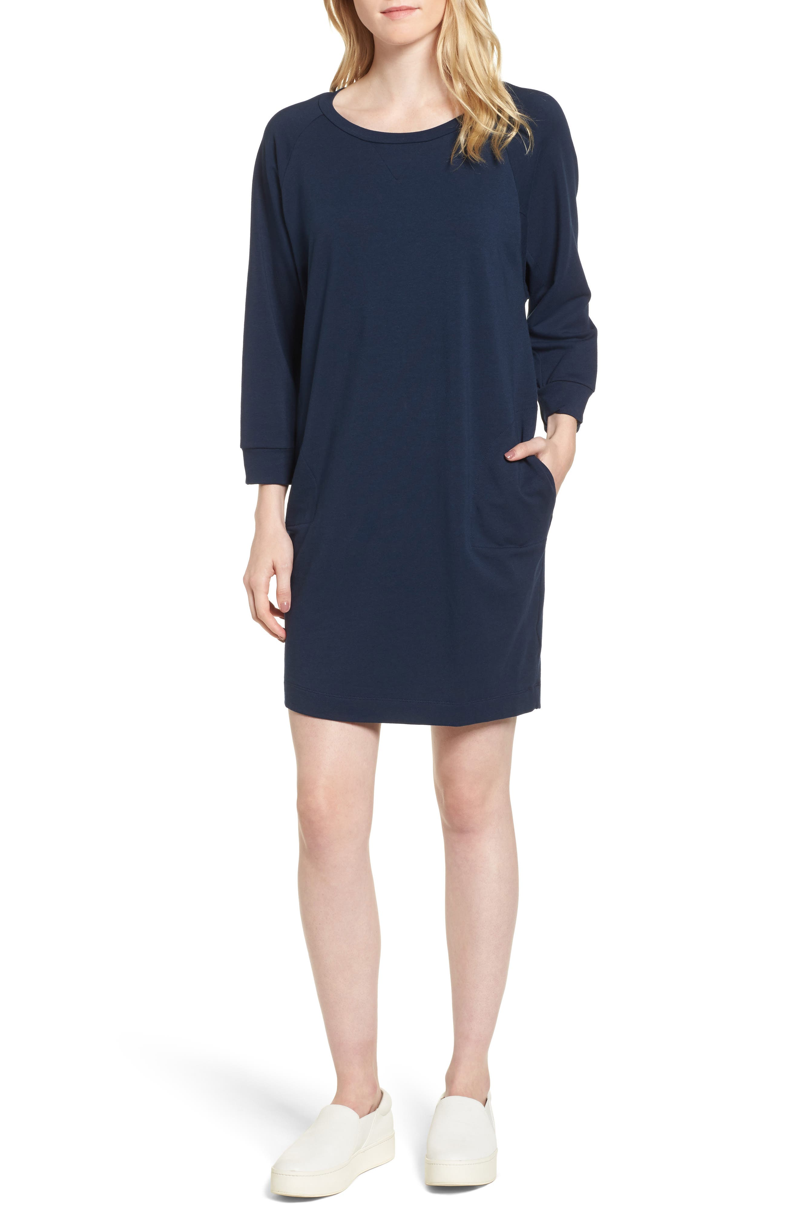 Nadja Dolman Sleeve Dress,                             Main thumbnail 1, color,                             Navy
