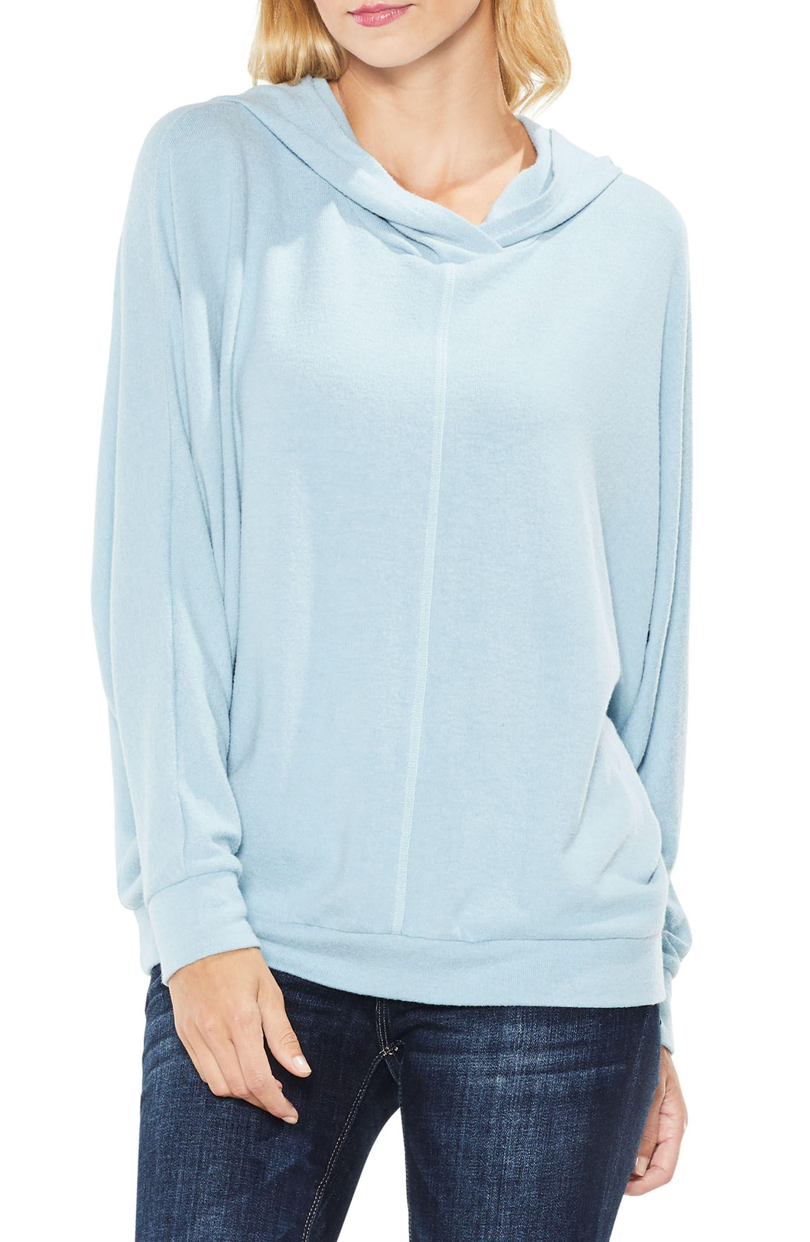Dolman Sleeve Brushed Jersey Hoodie,                         Main,                         color, Soft Skies