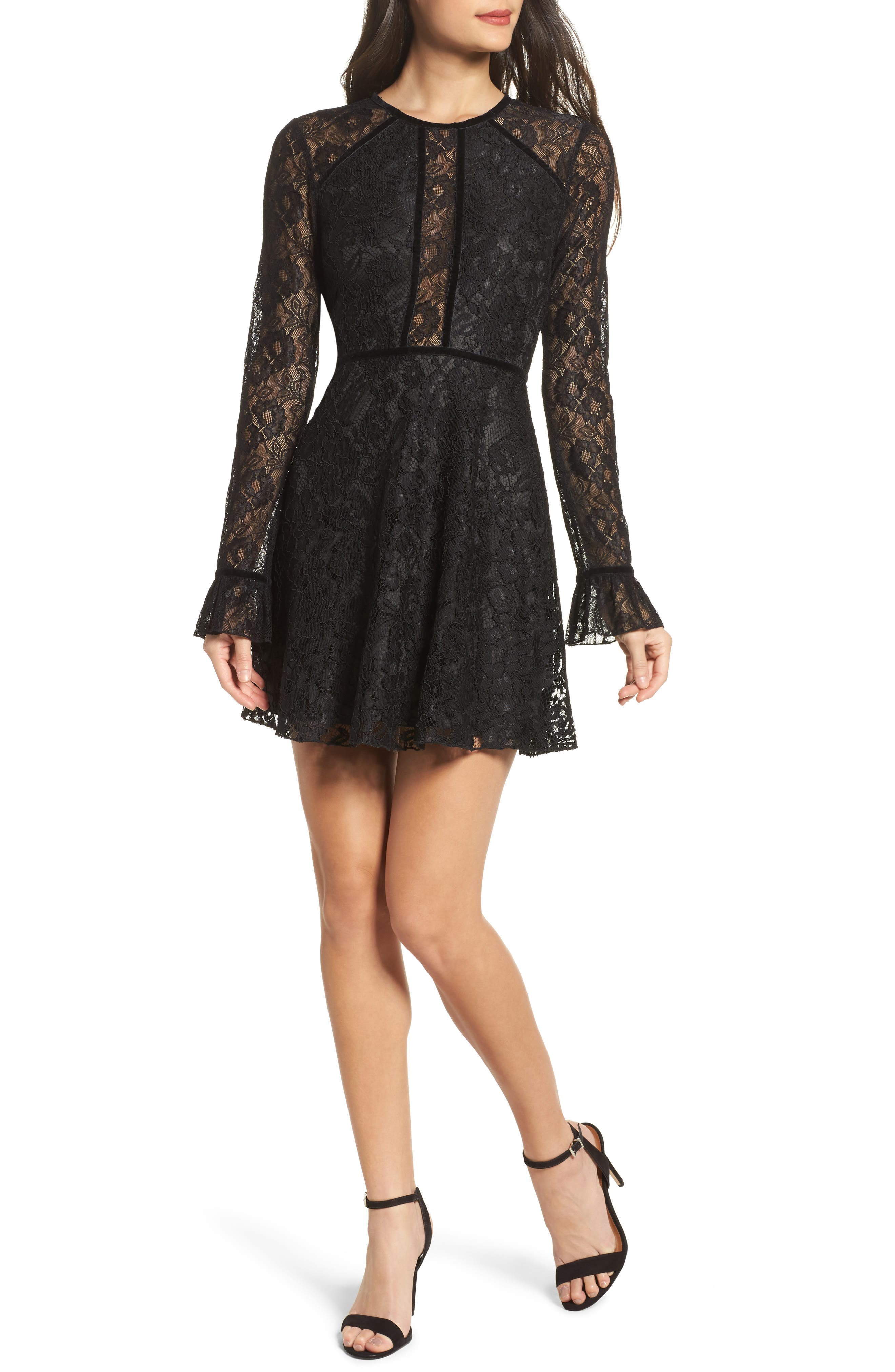 Chantilly Lace Skater Dress,                             Main thumbnail 1, color,                             Black