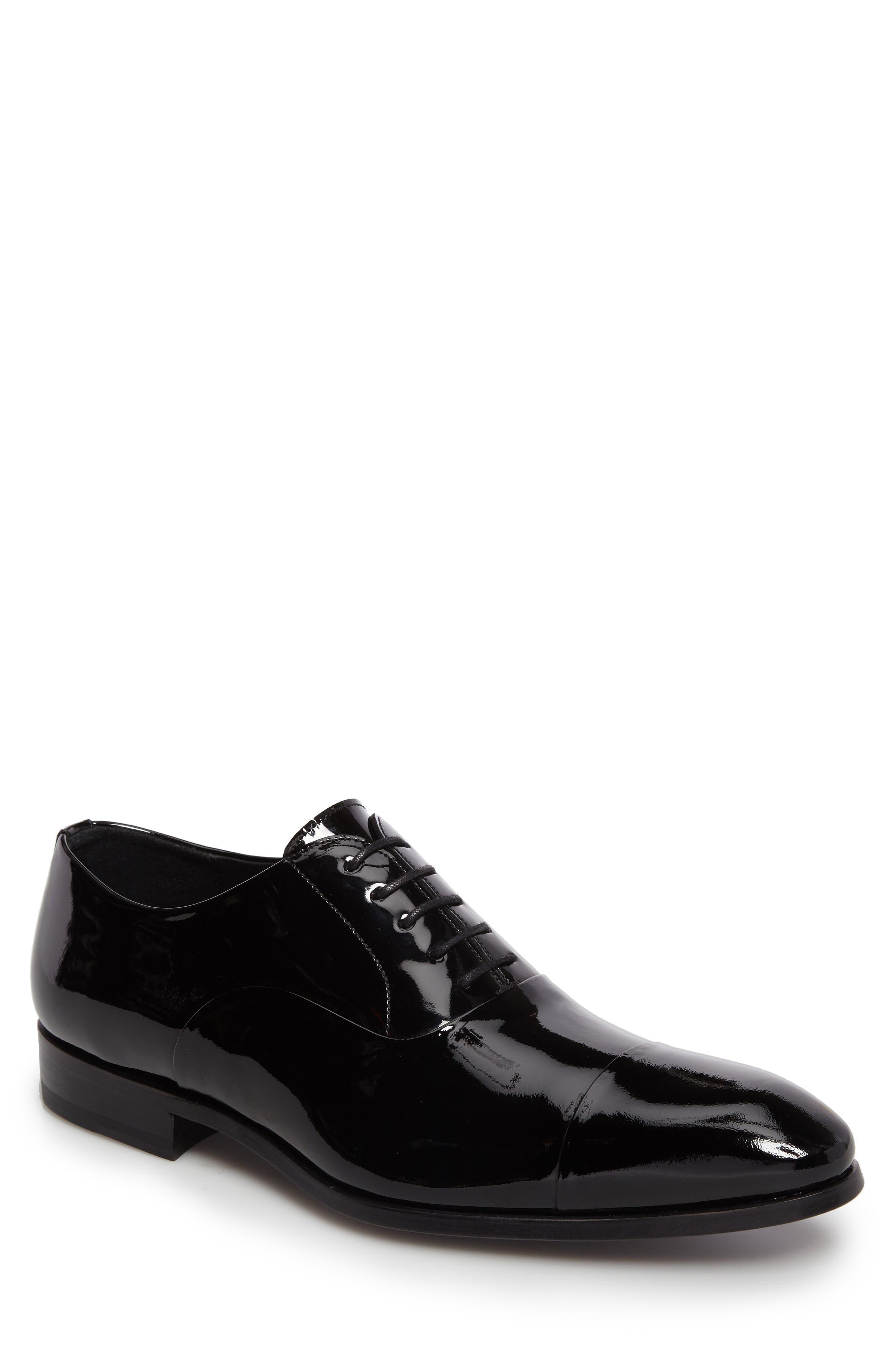 Davian Cap Toe Oxford,                         Main,                         color, Black Patent