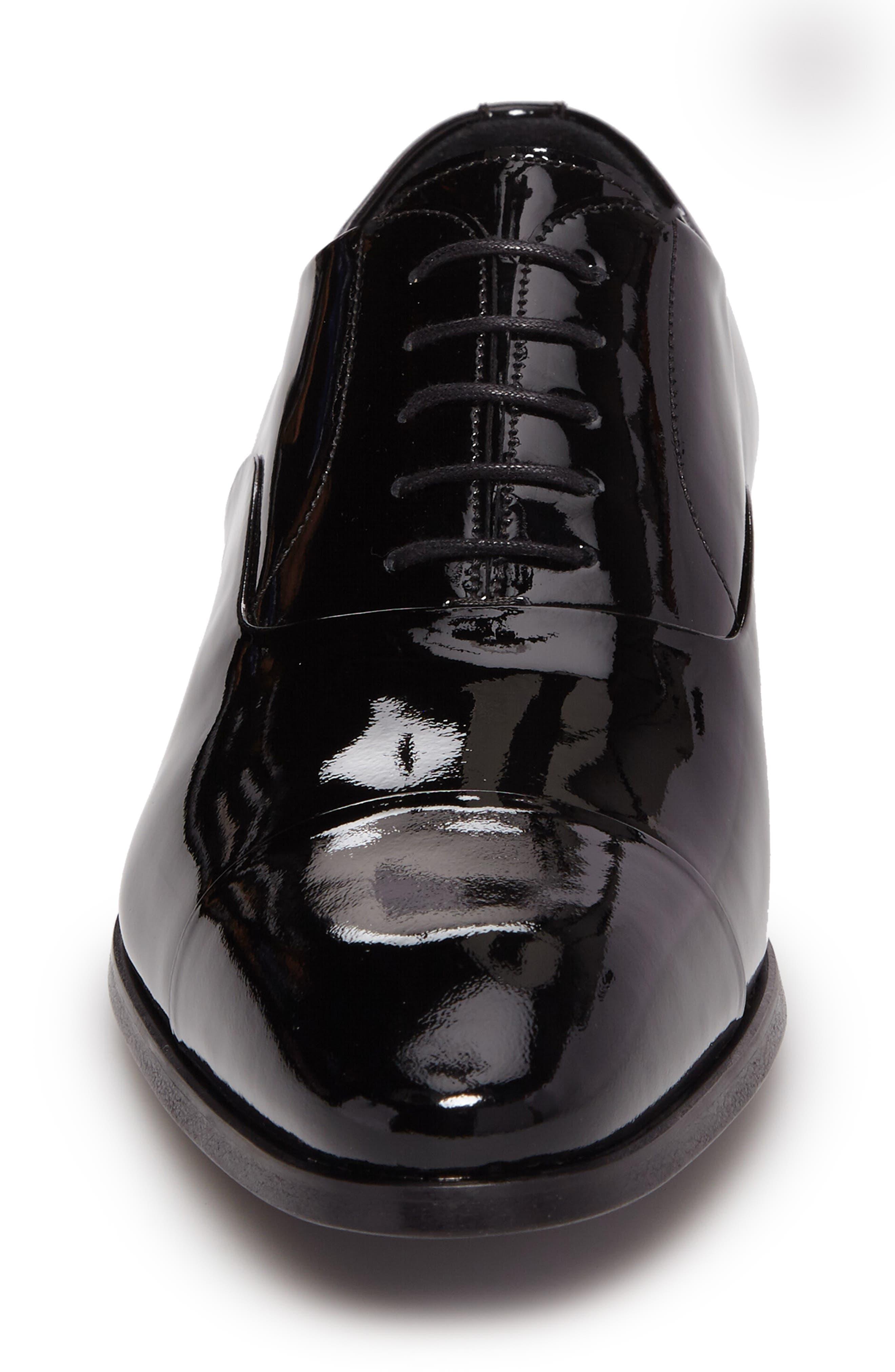 Davian Cap Toe Oxford,                             Alternate thumbnail 4, color,                             Black Patent